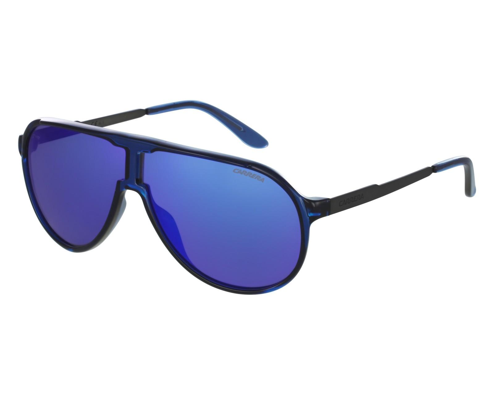b6161ad1025b39 Lunettes de soleil Carrera New-Champion 8FS Z0 - Bleu Pierre vue de face