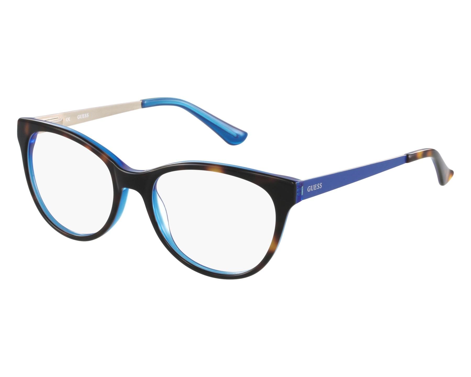 ea16df45f4dbbd Lunettes de vue Guess GU-2539 052 52-17 Havane Bleu vue de face