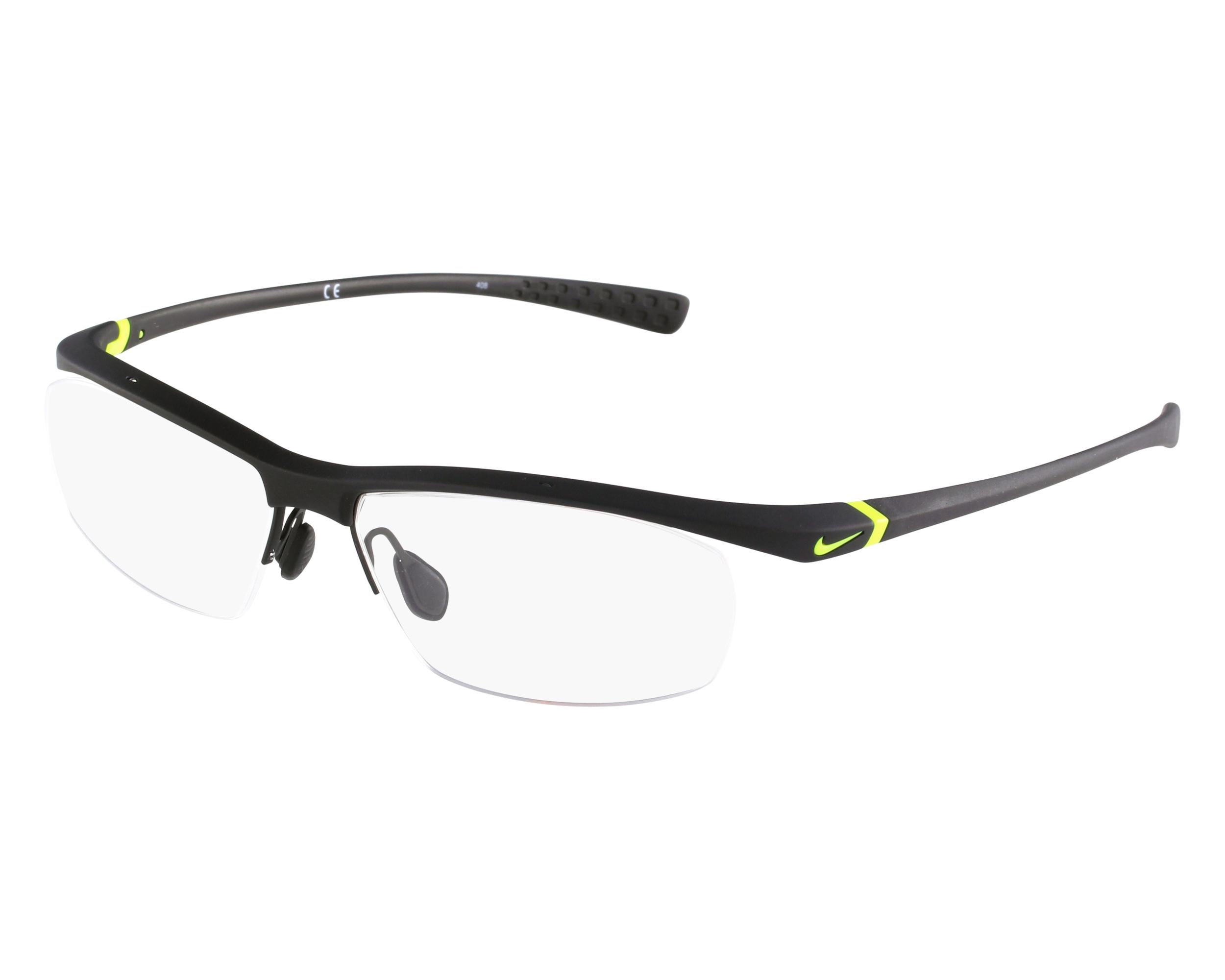 Lunettes de vue Nike 7070-3 002 57-15 Noir Jaune vue de face b226b09918f0