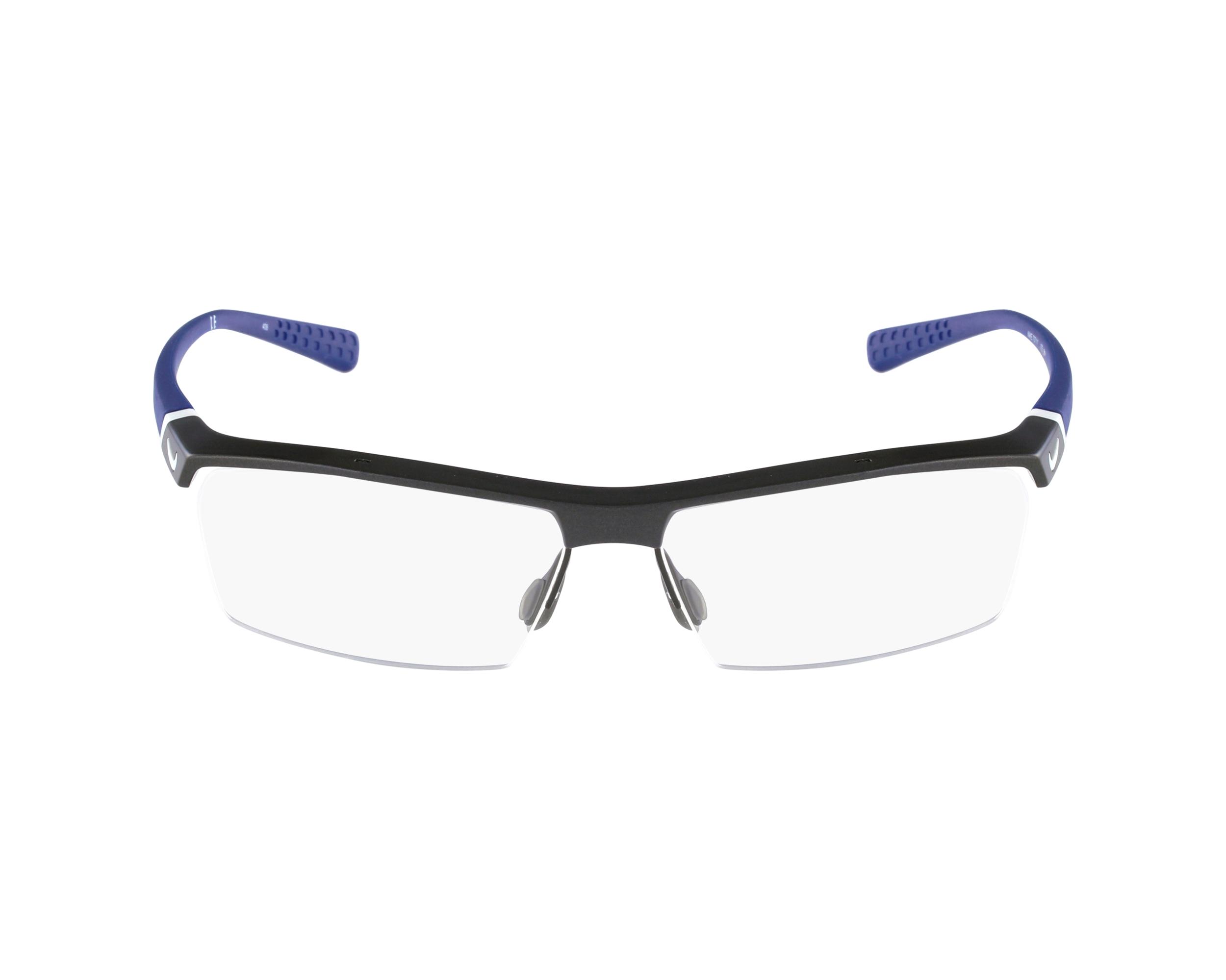 2bd6aa8fa78f27 Lunettes de vue Nike 7071-1 075 57-14 Gris Bleu vue de profil