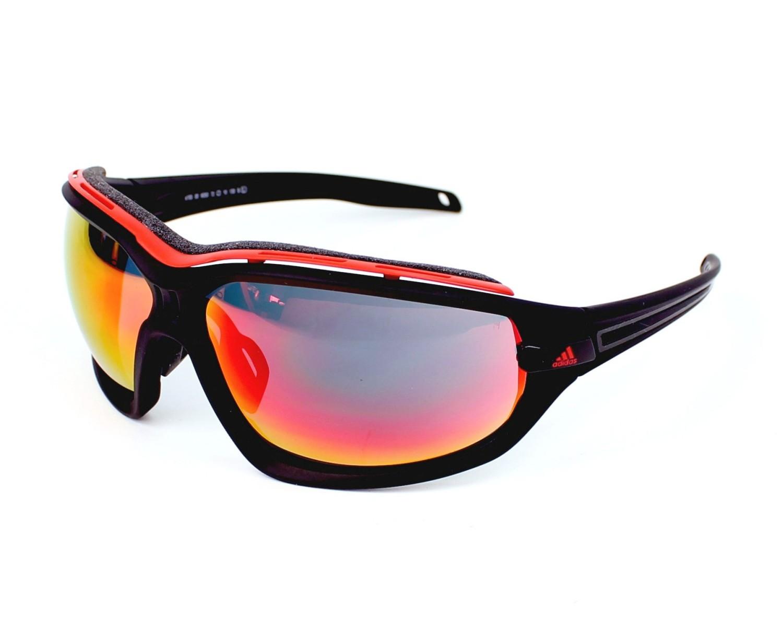 9f8bd9142f0ad4 Lunettes de soleil Adidas A-193 6050 - Noir Rouge vue de profil