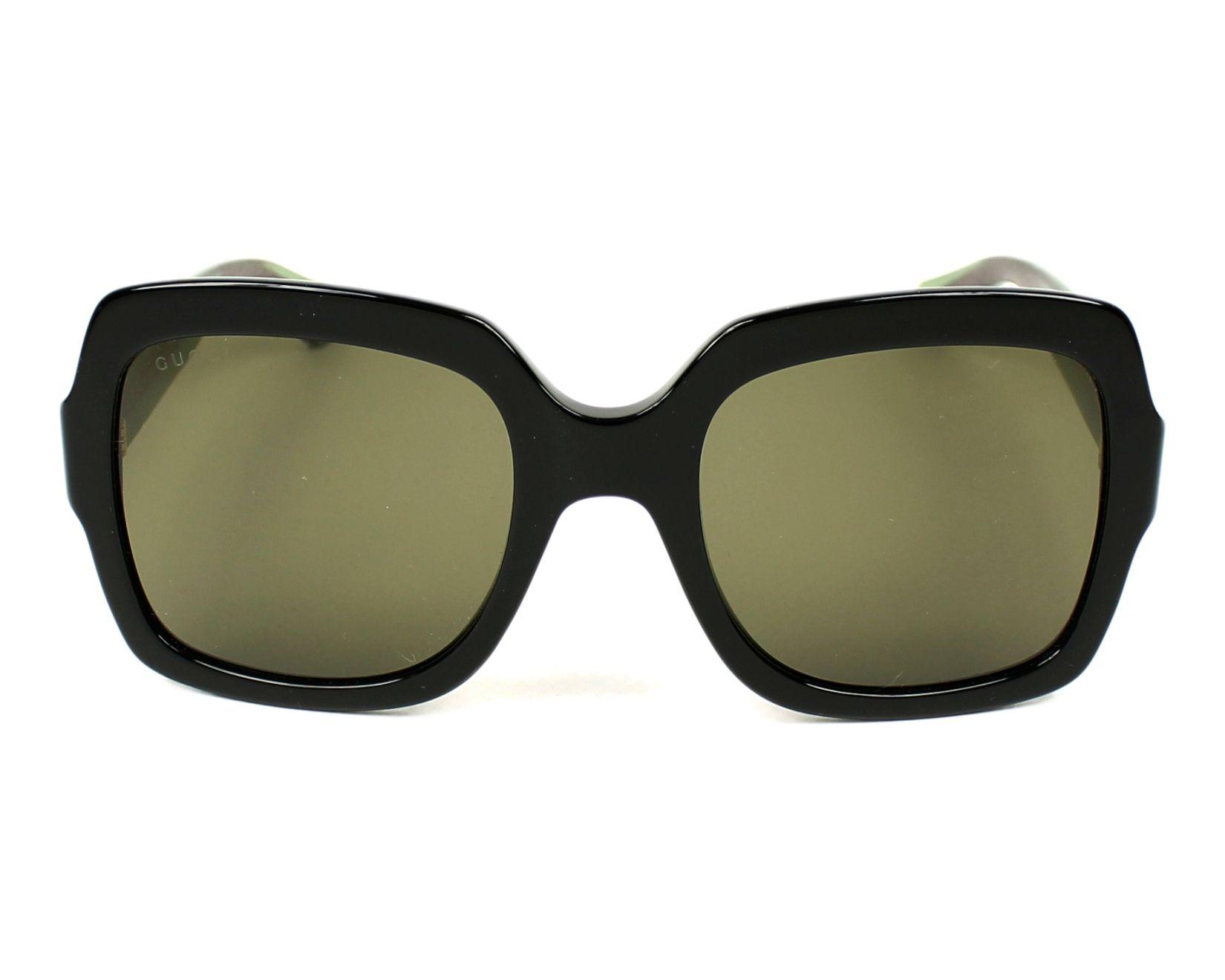 Lunettes de soleil Gucci GG-0036-S 002 54-22 Noir Vert vue 411471134ed2
