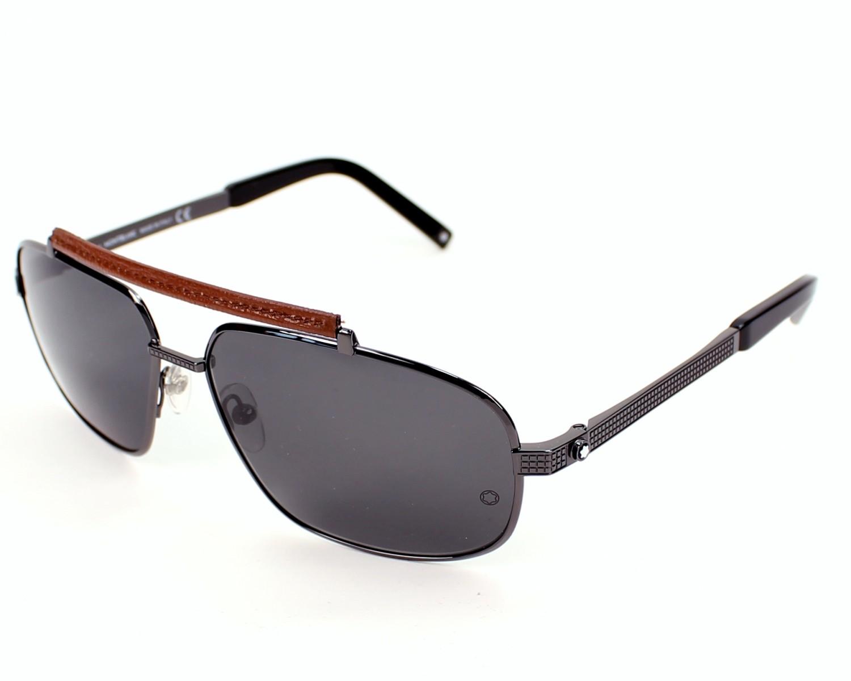 lunettes de soleil mont blanc mb 455 s 08a gunmetal avec des verres gris pour hommes. Black Bedroom Furniture Sets. Home Design Ideas