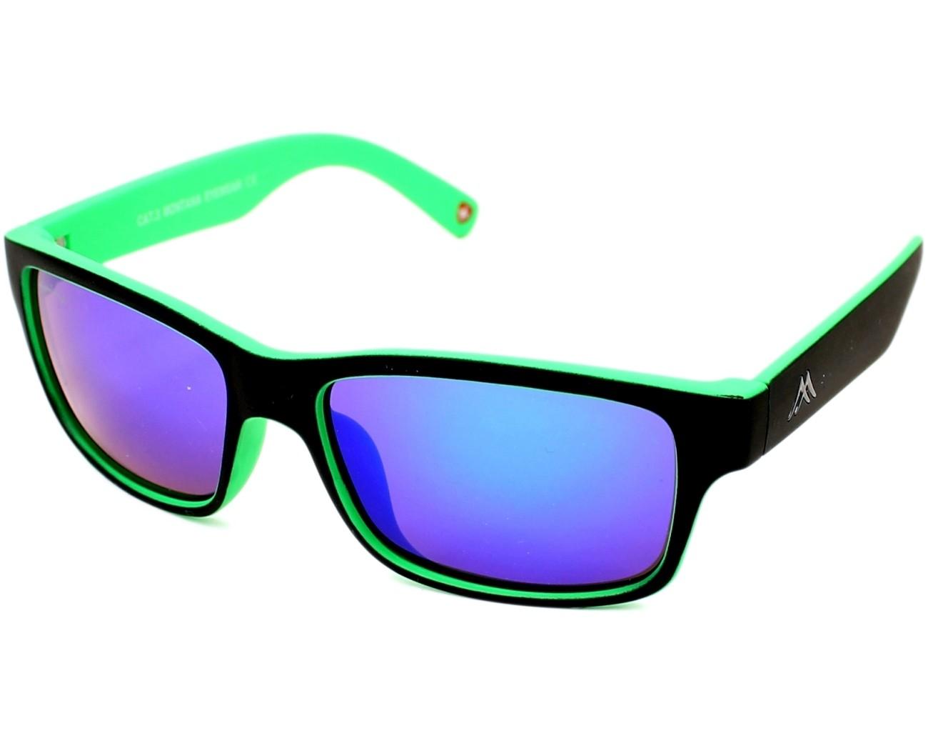89d9faaad8527 Lunettes de soleil Montana MS-27 E 57-18 Noir Vert vue de profil
