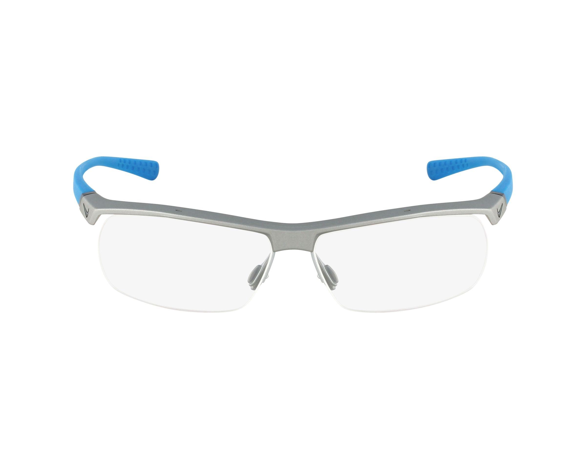 b748087c1b83fe Lunettes de vue Nike 7071-2 080 57-14 Argent Bleu vue de profil