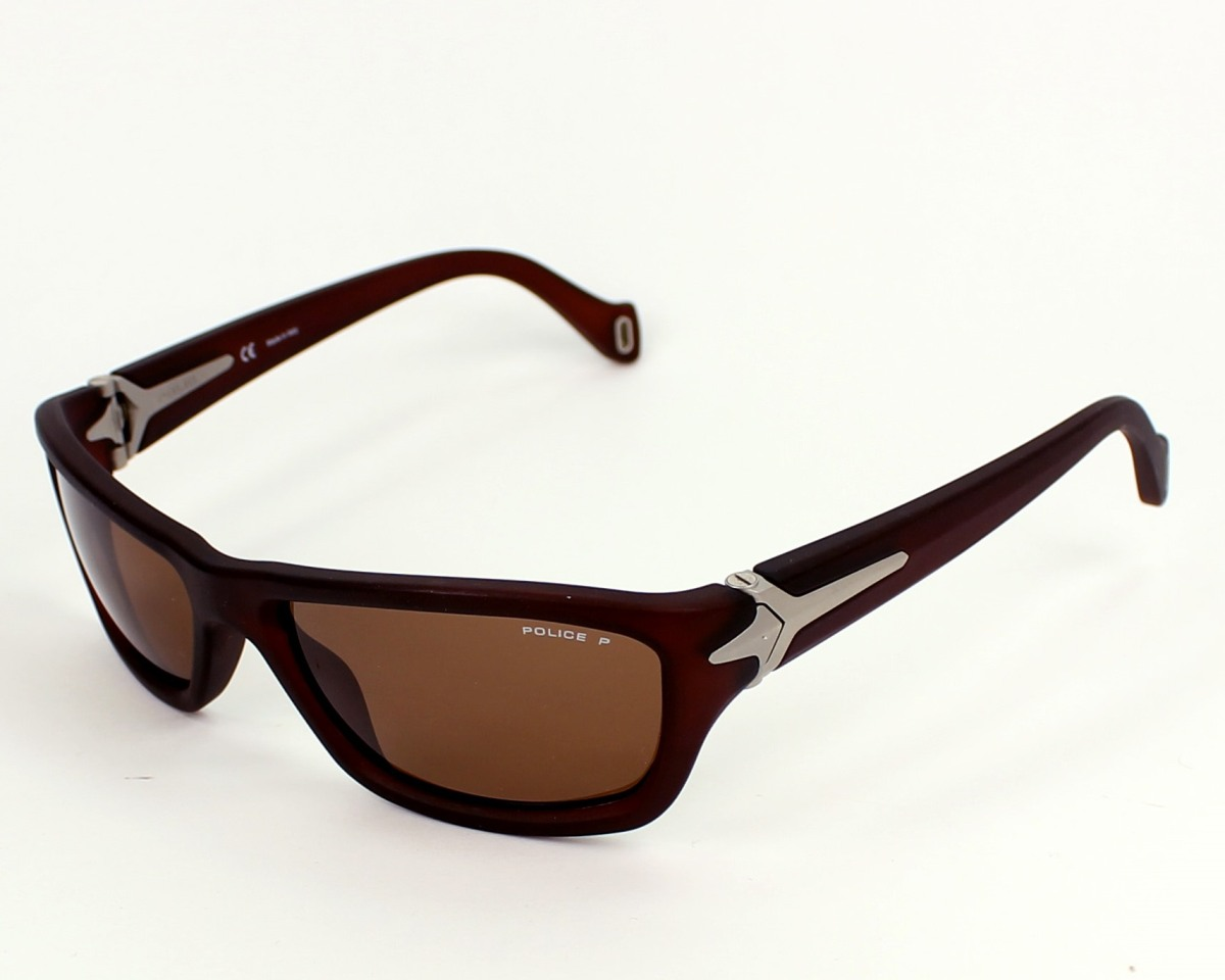 lunettes de soleil police s 1708 z55p marron avec des verres marron pour hommes. Black Bedroom Furniture Sets. Home Design Ideas