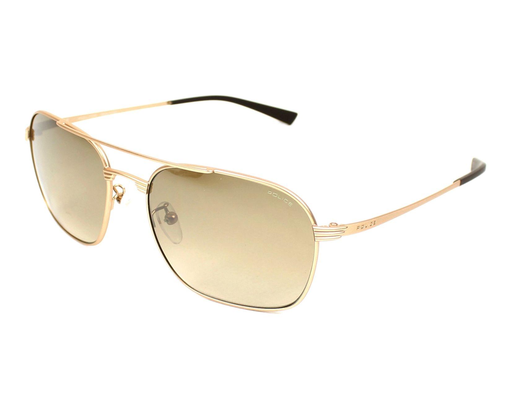 lunettes de soleil police s 8952 648x or avec des verres marron pour hommes. Black Bedroom Furniture Sets. Home Design Ideas
