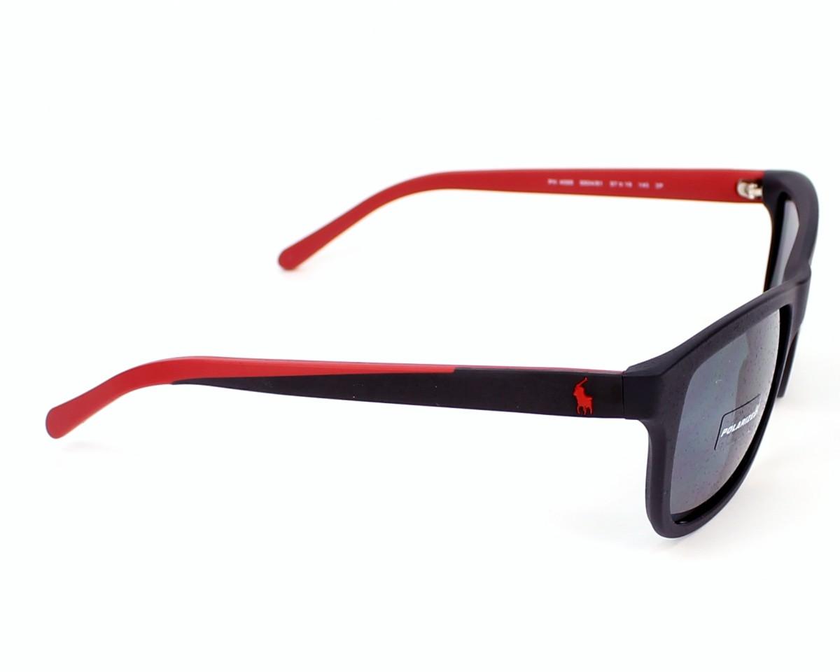 5ddf57a31f305 Lunettes de soleil Polo Ralph Lauren PH-4095 5504 81 - Noir Rouge vue