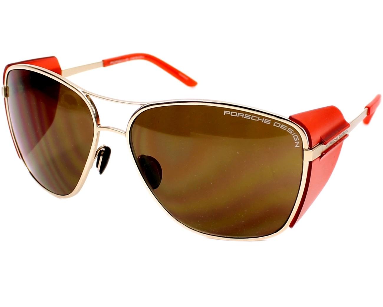 lunettes de soleil porsche design p 8600 b or avec des verres marron. Black Bedroom Furniture Sets. Home Design Ideas