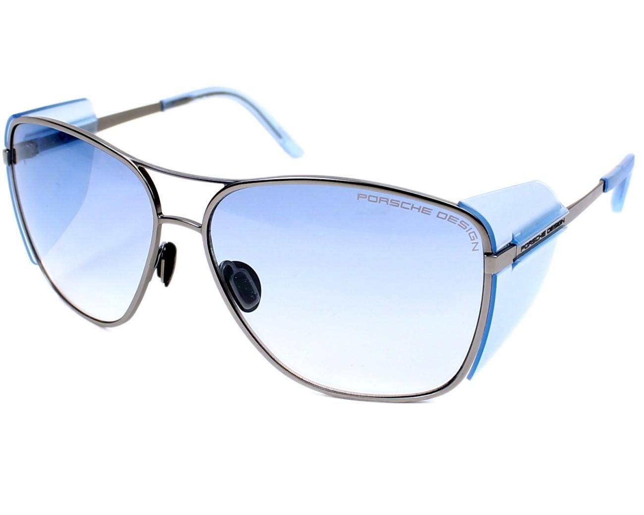 lunettes de soleil porsche design p 8600 c argent avec des verres gris bleu pour hommes. Black Bedroom Furniture Sets. Home Design Ideas