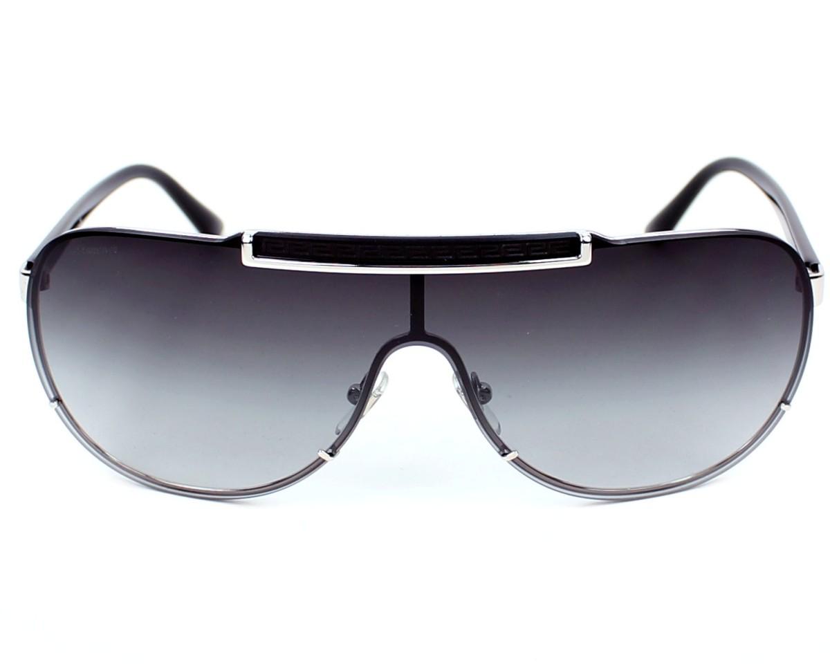 Lunettes de soleil Versace VE-2140 1000 8G - Argent Noir vue de face 13fb7ae75b65