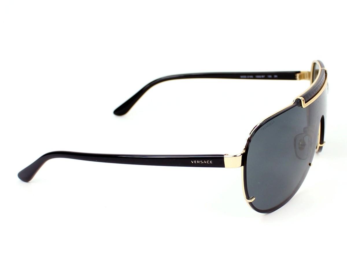 Lunettes de soleil Versace VE-2140 1002 87 40- Noir Or vue de ee699c04e9e6