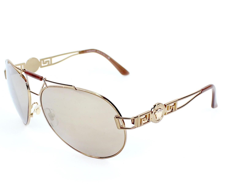 lunettes de soleil versace ve 2160 1348 5a or avec des verres marron. Black Bedroom Furniture Sets. Home Design Ideas