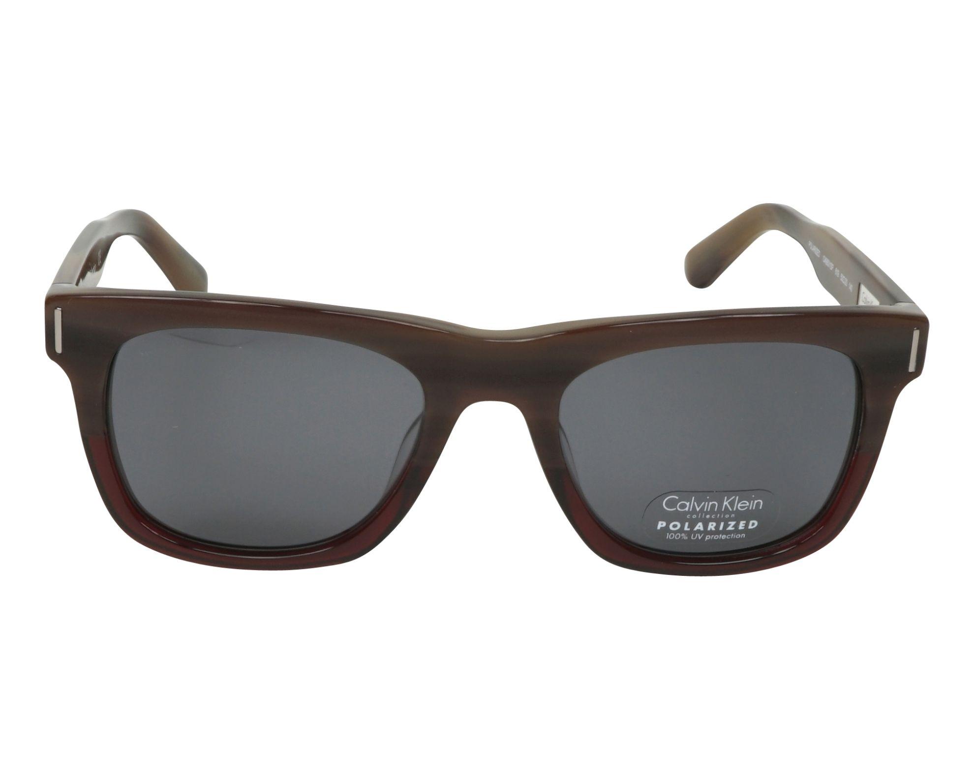 Lunettes de soleil calvin klein ck 8501 s p 619 marron avec des verres gris - Verre lunette raye assurance ...