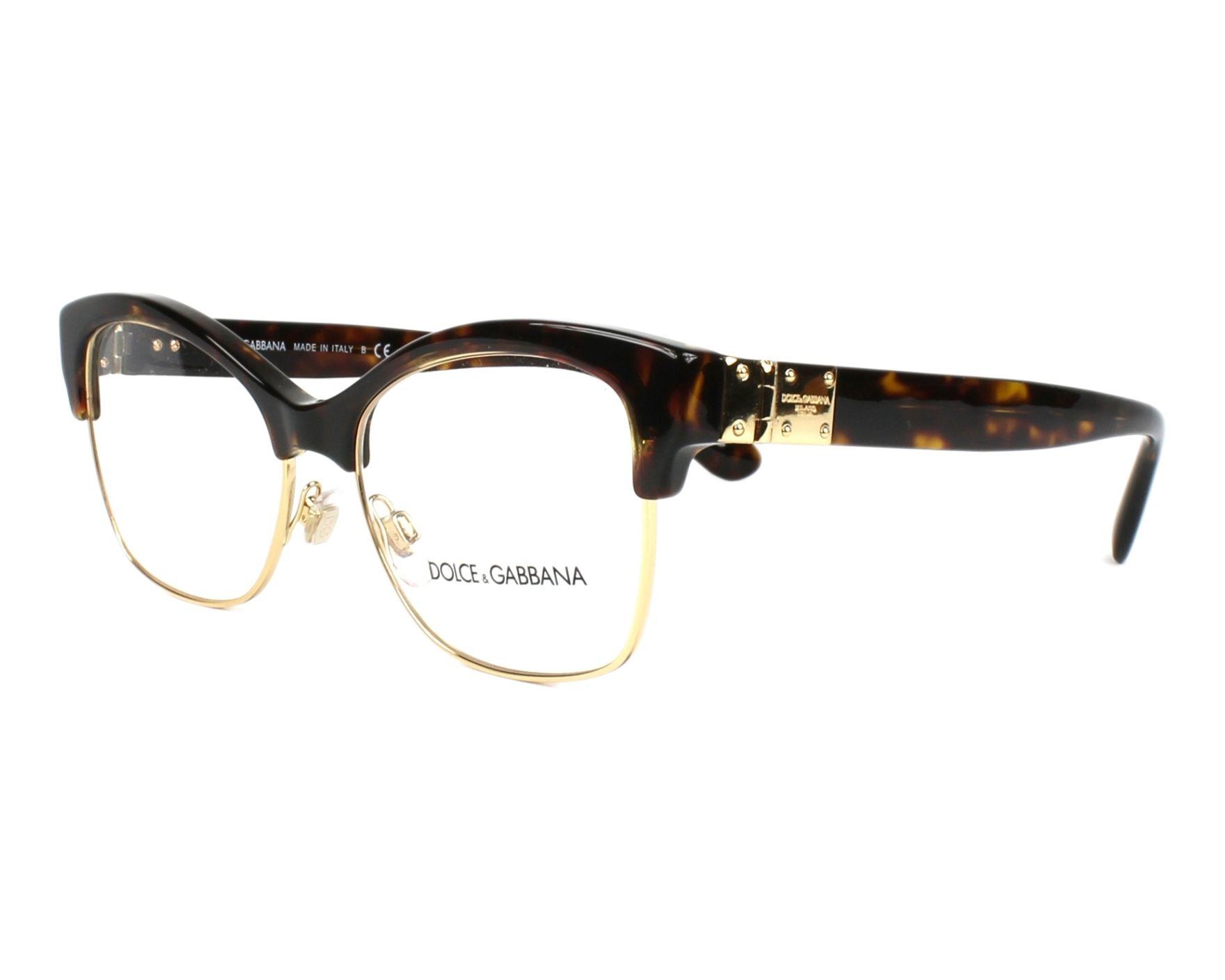 78868e8a443 Lunettes de vue Dolce   Gabbana DG-3272 502 52-17 Marron Or vue