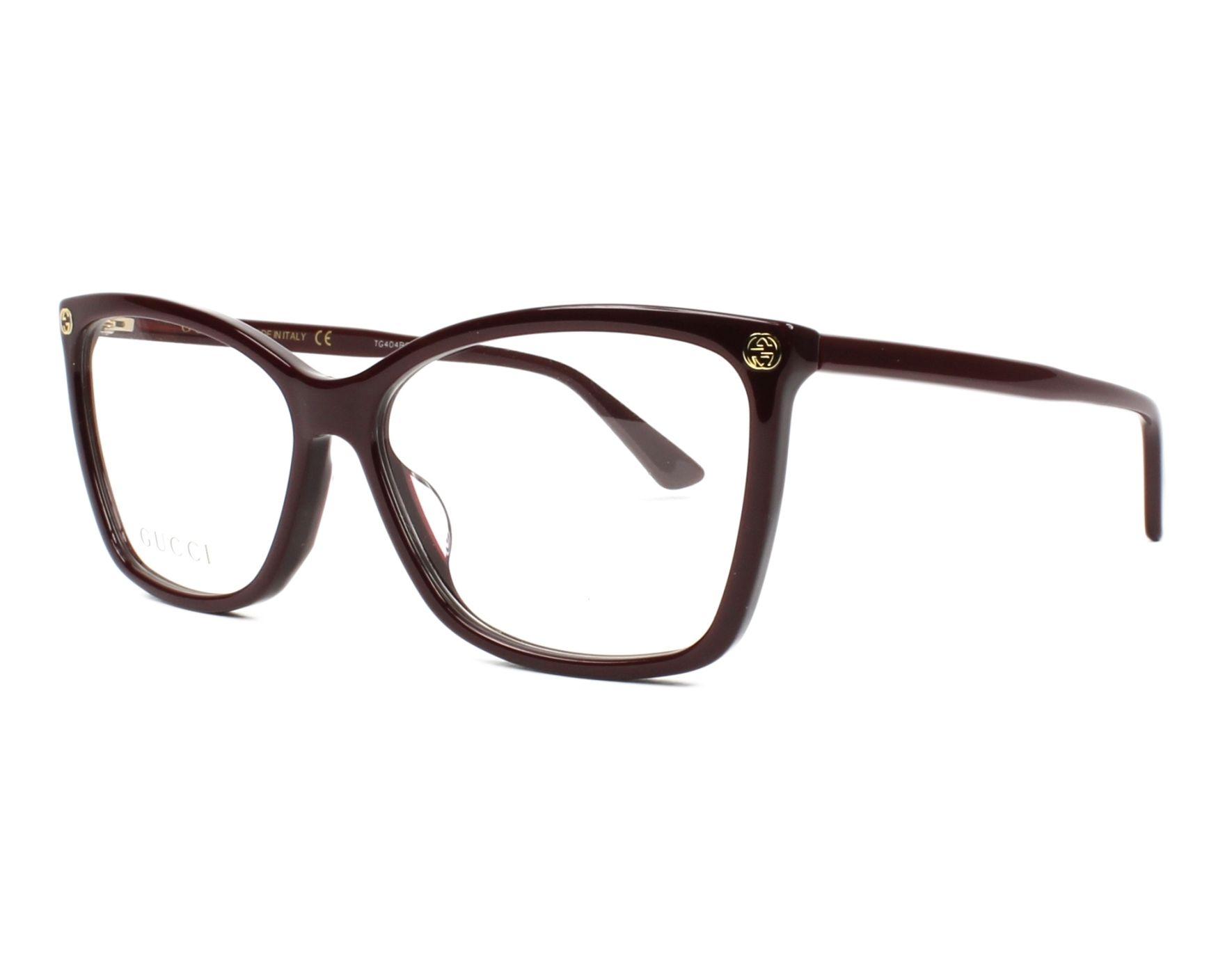 Lunettes de vue Gucci GG-0025-O 007 56-14 Bordeaux vue de e27556040d45