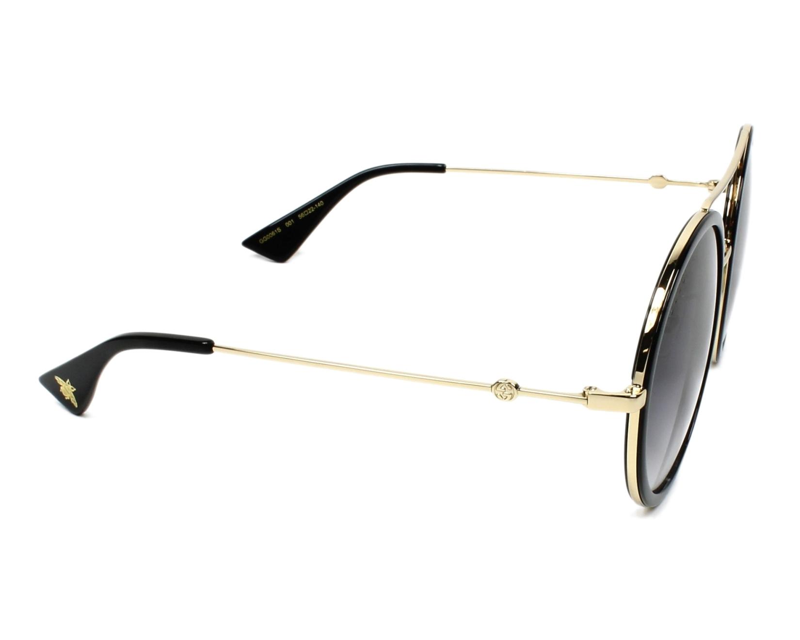 b3f4a61128f Lunettes de soleil Gucci GG-0061-S 001 56-22 Noir Or vue