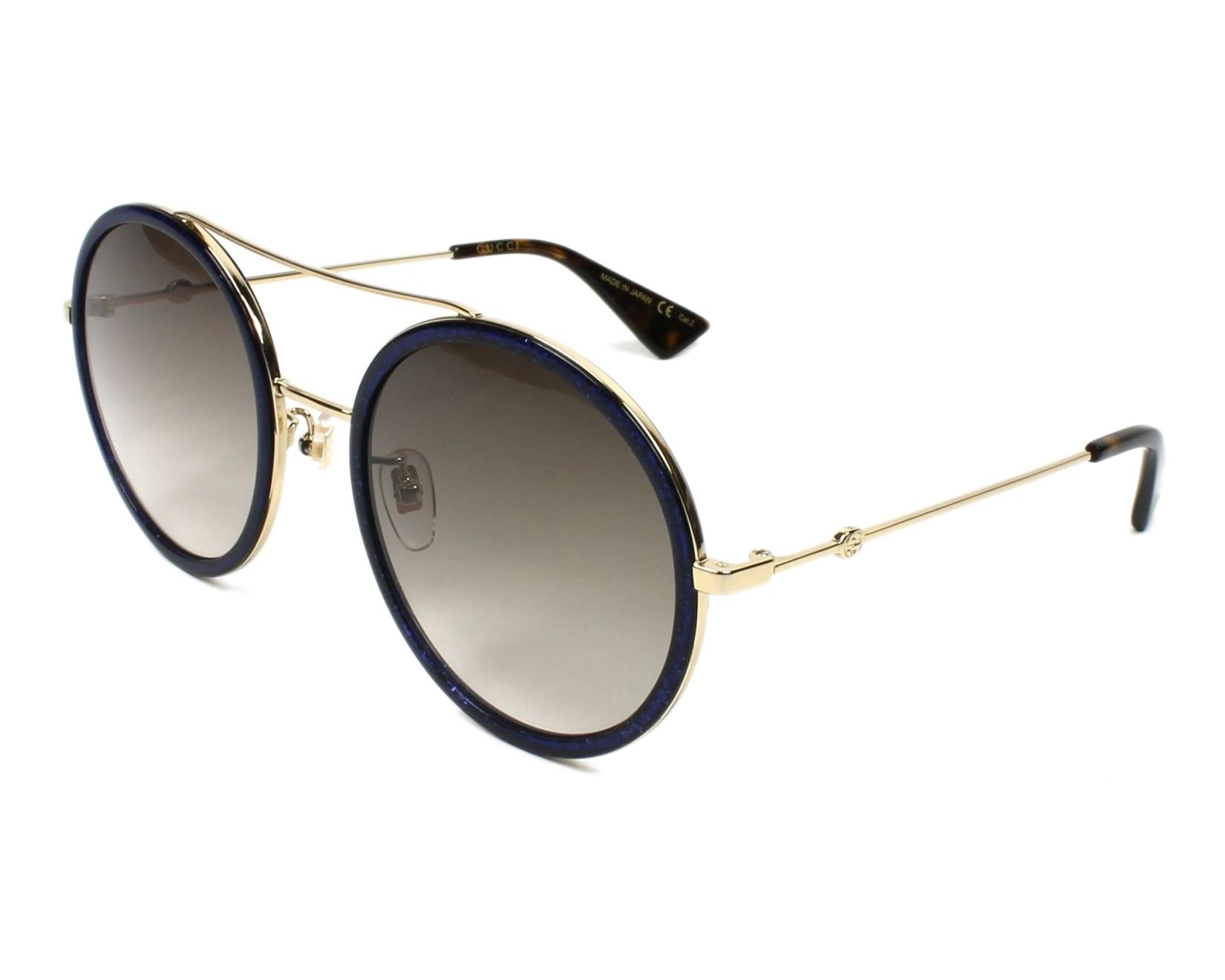 a68723163bb Lunettes de soleil Gucci GG-0061-S 005 - Bleu Or vue de profil