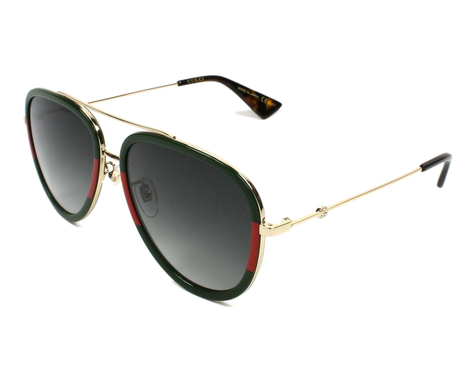 327271df35 Lunettes de soleil Gucci GG-0062-S 003 57-17 Or Vert vue