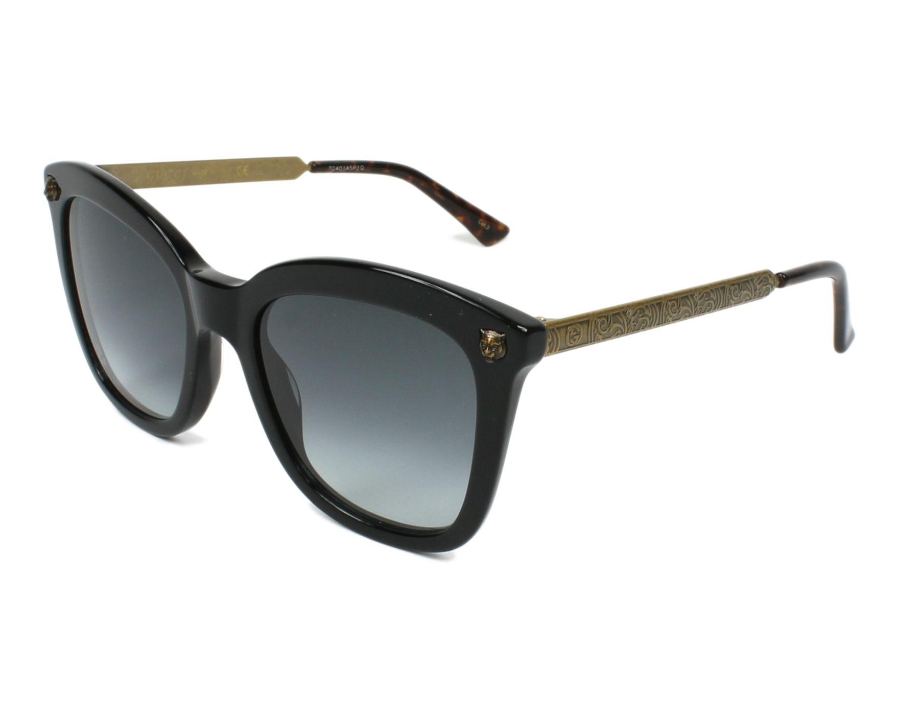 4394d0703e3 Lunettes de soleil Gucci GG-0217-S 001 - Noir Laiton vue de profil