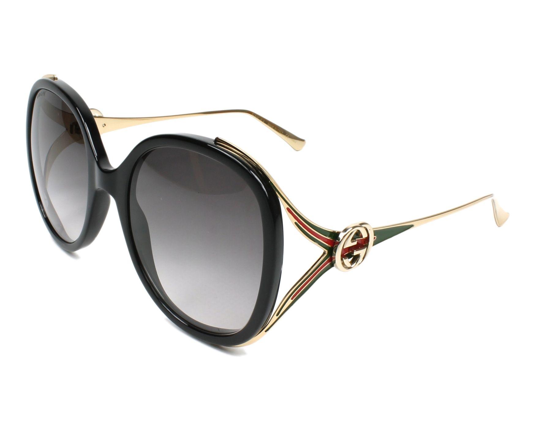 Lunettes de soleil Gucci GG-0226-S 001 56-22 Noir Or vue d1ed46458b27