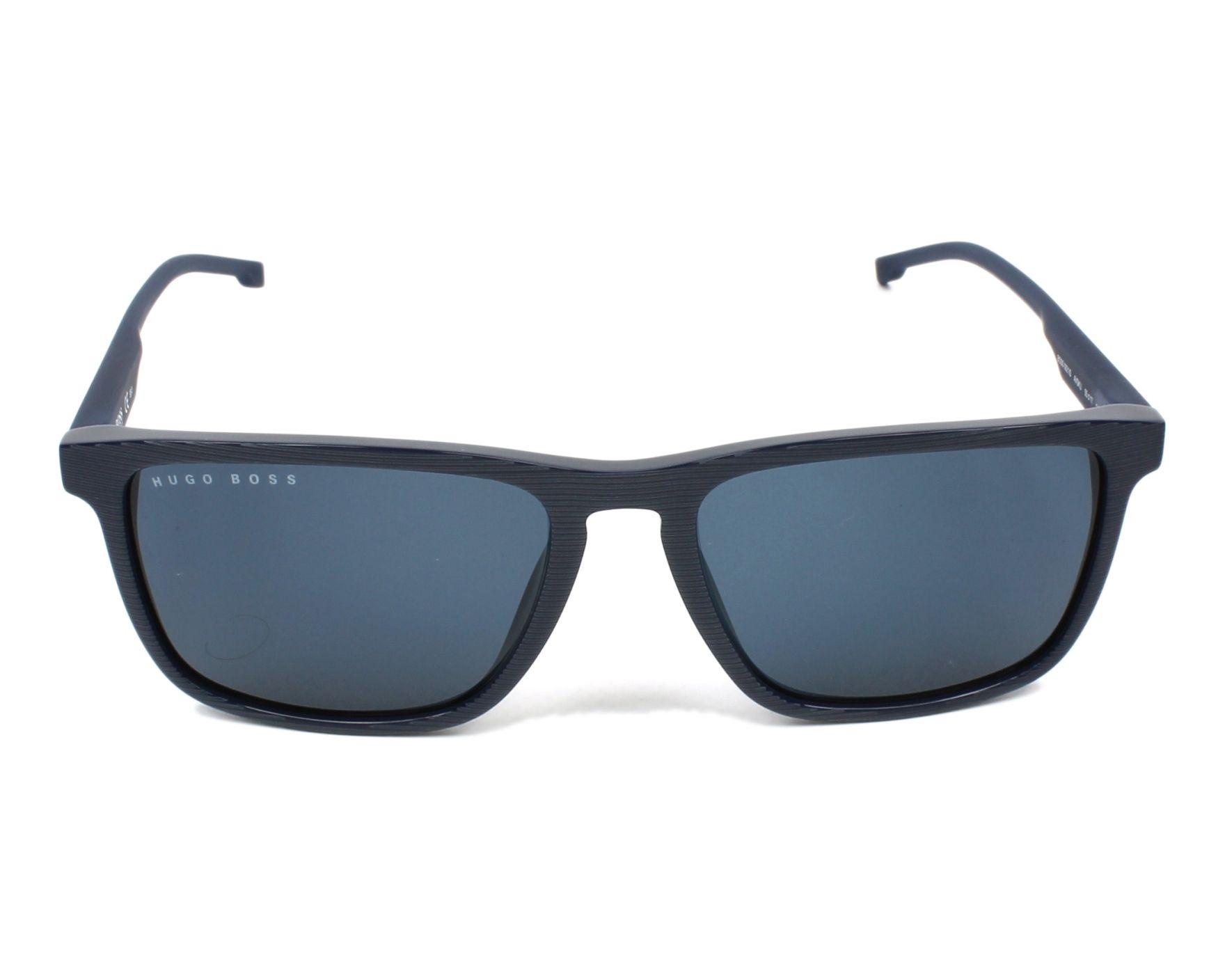 Lunettes de soleil hugo boss boss 0921 s avs ku bleu avec des verres bleu gris - Verre lunette raye assurance ...
