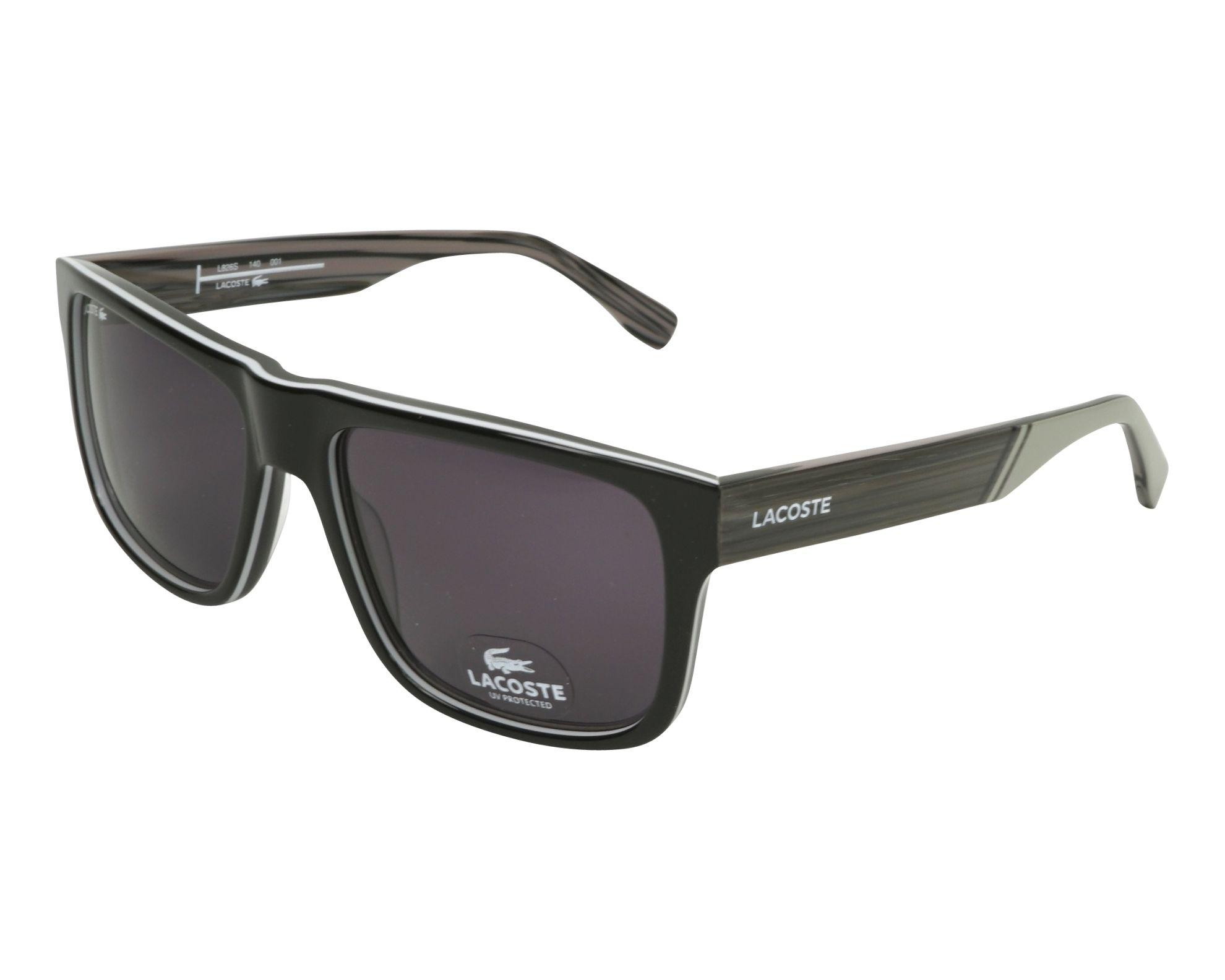 Lunettes de soleil lacoste l 826 s 001 noir avec des verres gris - Verre lunette raye assurance ...