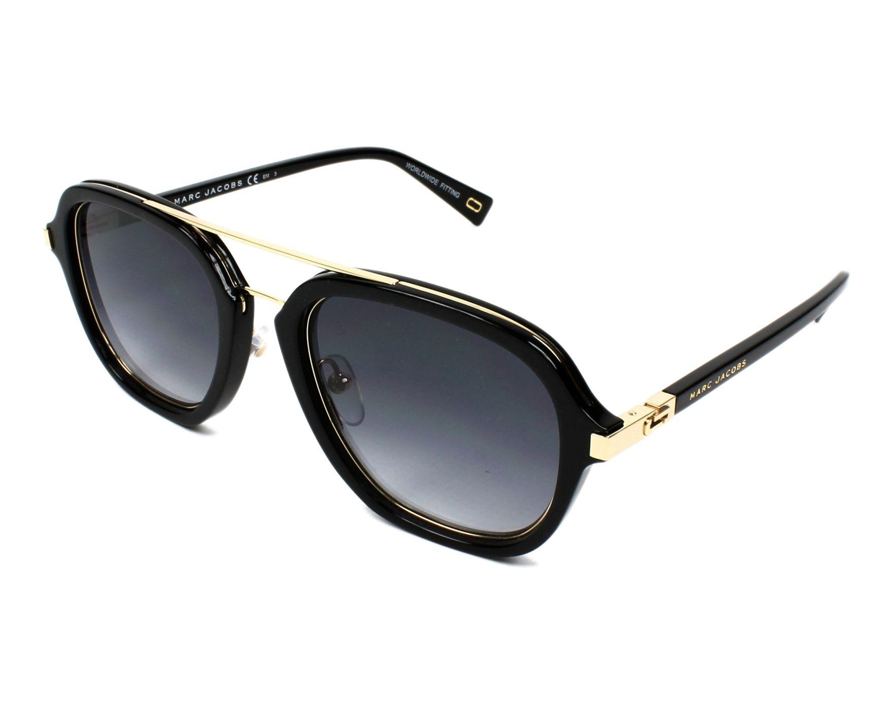 lunettes de soleil marc jacobs marc 172 s 2m2 9o noir avec des verres gris pour mixte. Black Bedroom Furniture Sets. Home Design Ideas