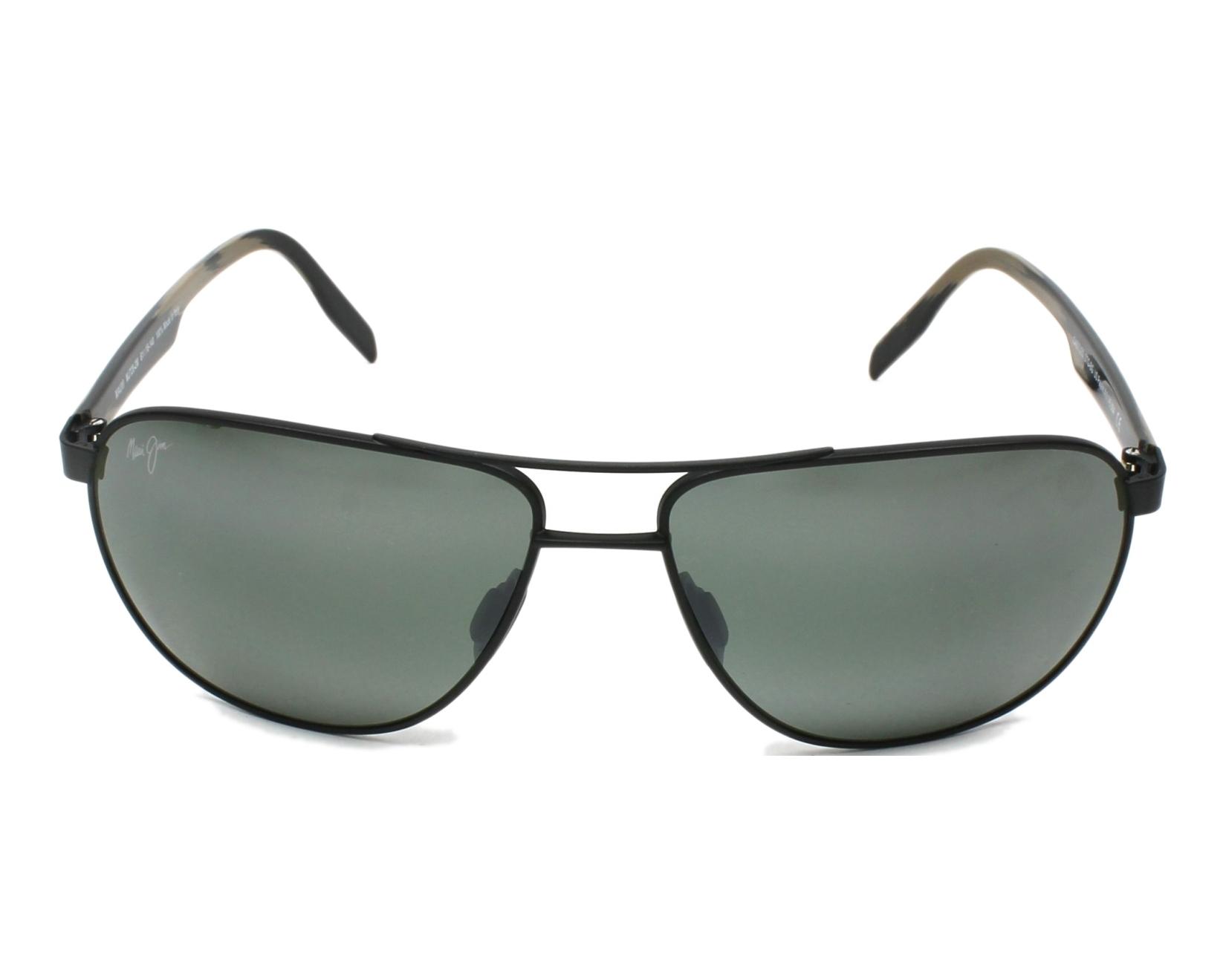 Lunettes de soleil maui jim 728 2m noir avec des verres gris for Miroir 2m