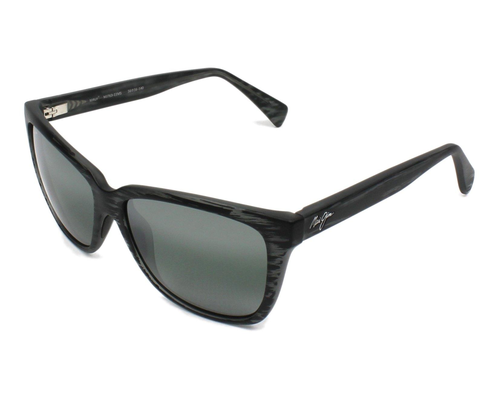 lunettes de soleil maui jim 763 11ms noir avec des verres gris. Black Bedroom Furniture Sets. Home Design Ideas