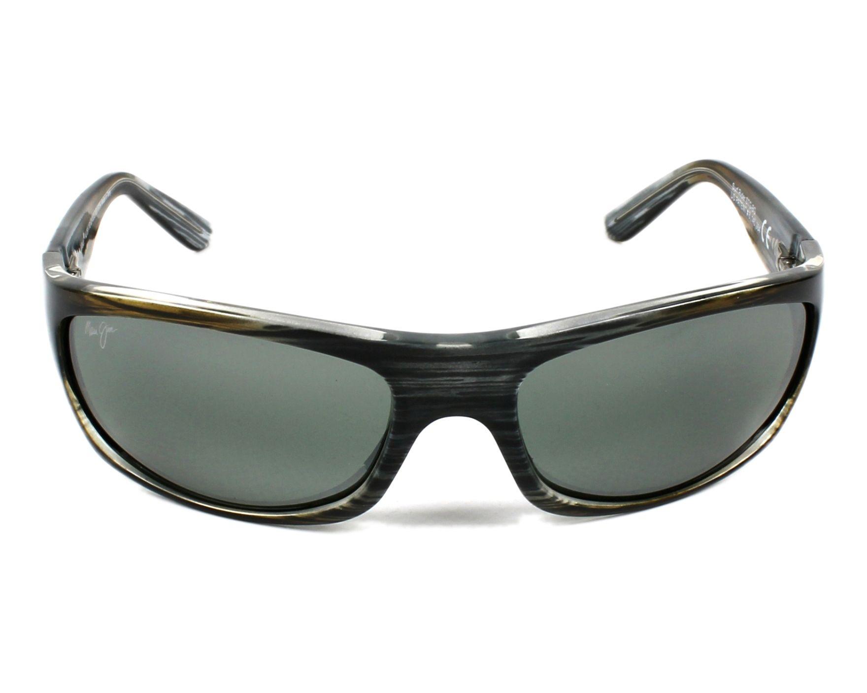 Lunettes de soleil maui jim 261 11d noir avec des verres gris vert - Verre lunette raye assurance ...