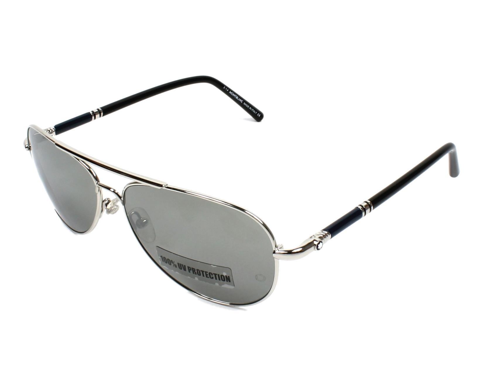 lunettes de soleil mont blanc mb 509 s 16c argent avec des verres gris. Black Bedroom Furniture Sets. Home Design Ideas