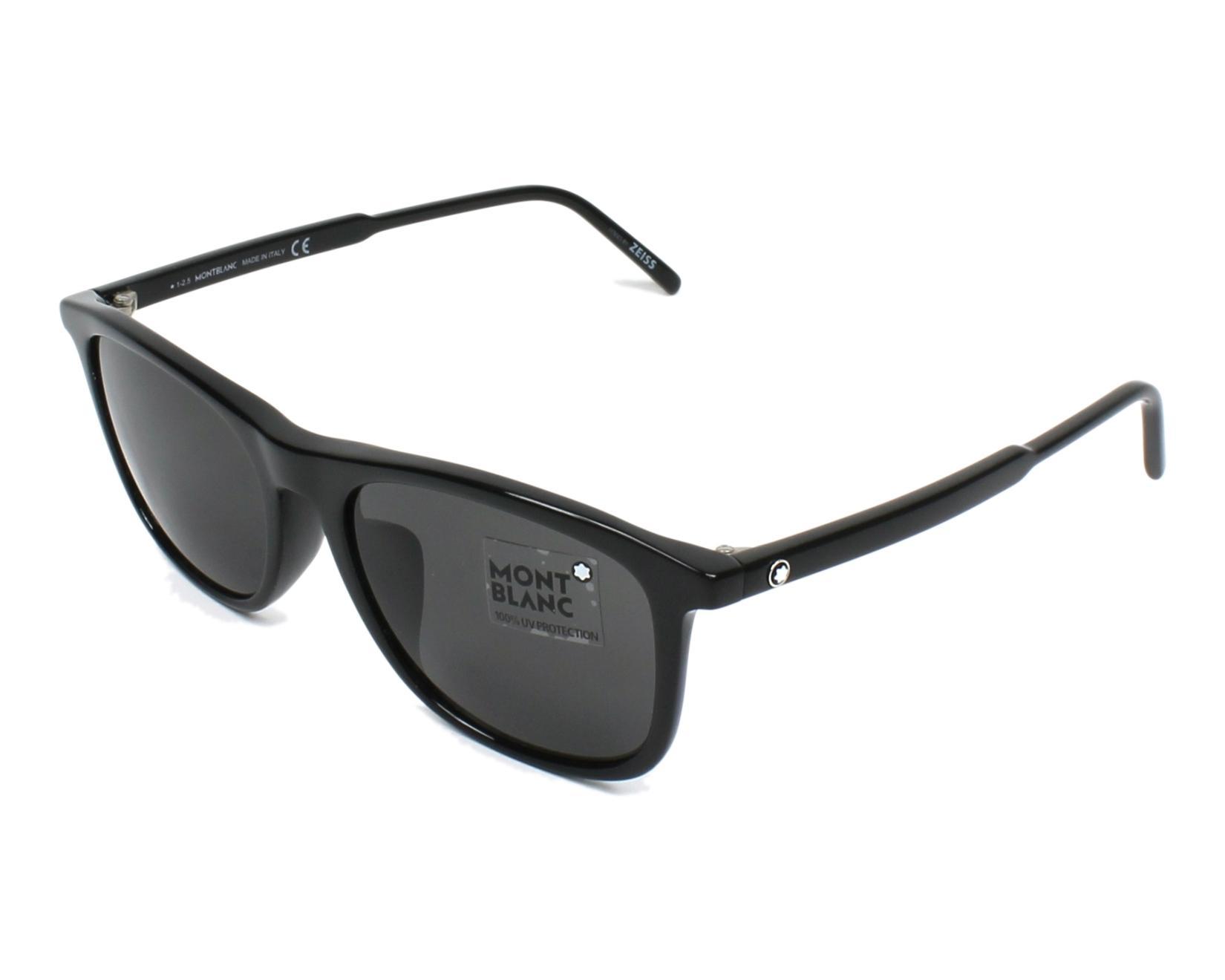 lunettes de soleil mont blanc mb 593 s 01a noir avec des verres gris. Black Bedroom Furniture Sets. Home Design Ideas