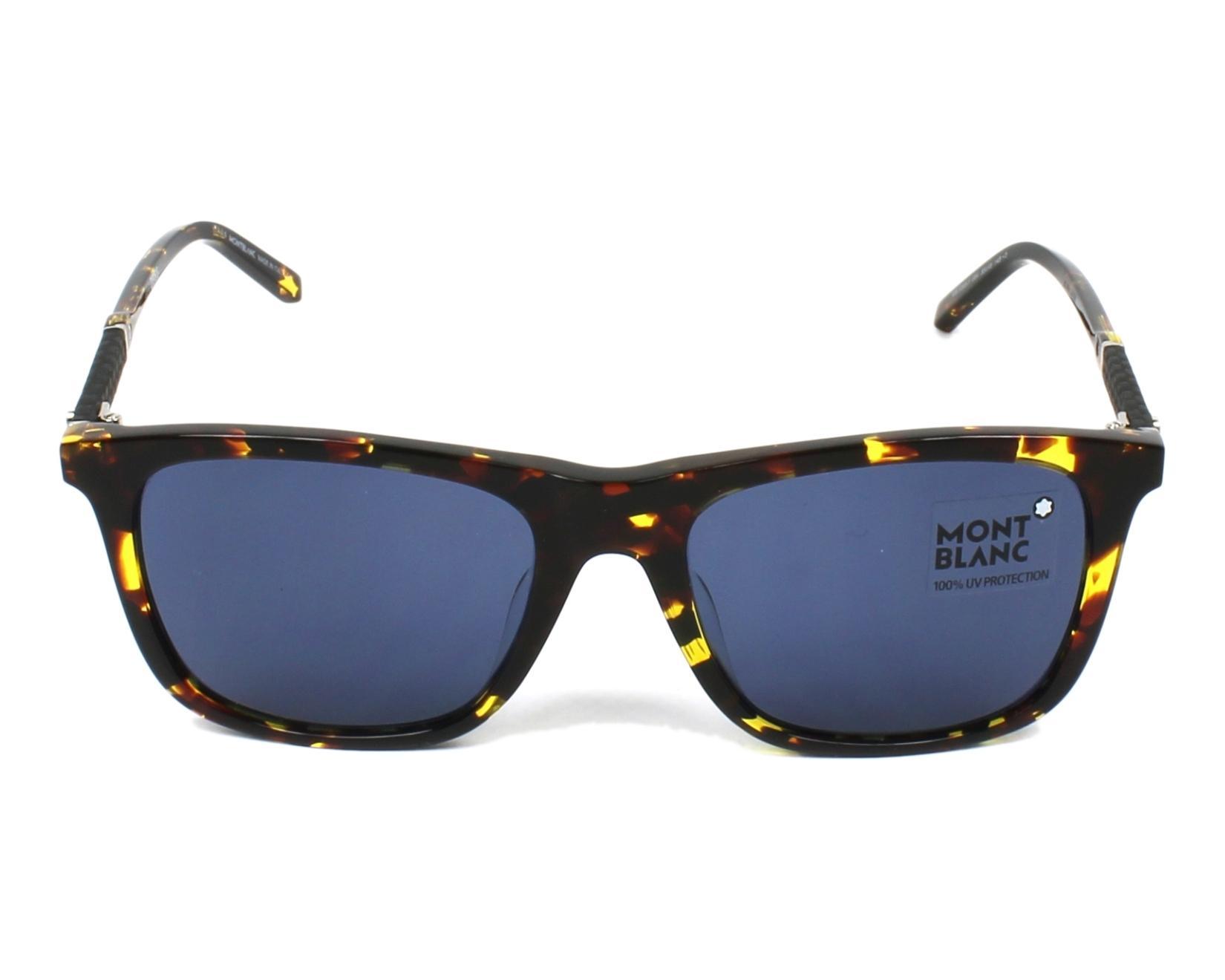 lunettes de soleil mont blanc mb 606 s f 55v havane avec des verres bleu gris. Black Bedroom Furniture Sets. Home Design Ideas