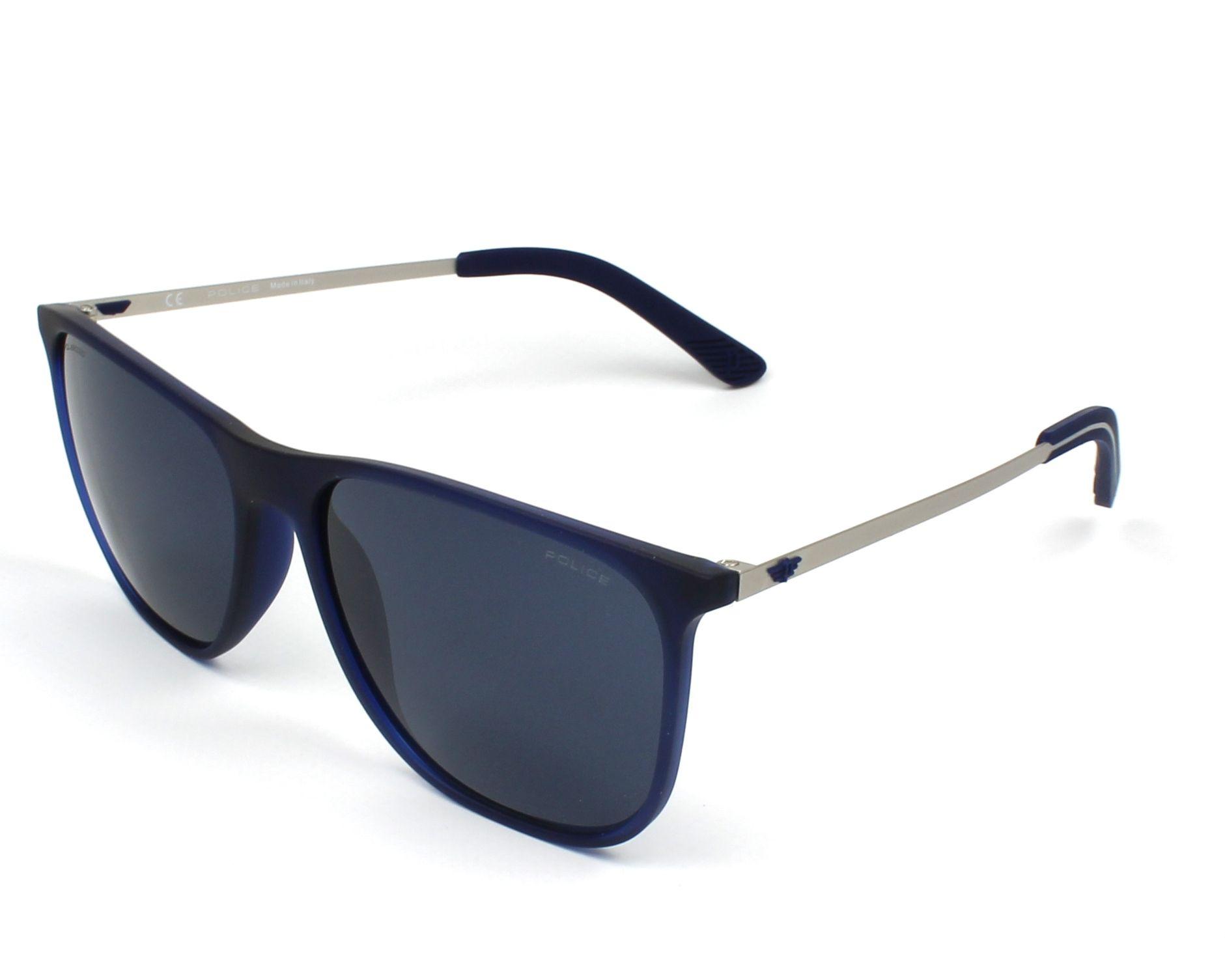 d6a7cc0ee787f6 Lunettes de soleil Police SPL-567 92EP 57-17 Bleu Gunmetal vue de profil