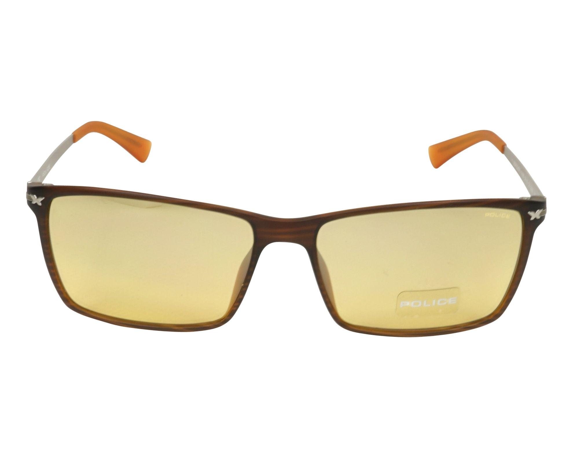 Lunettes de soleil police s 1957 d83m marron avec des verres marron - Verre lunette raye assurance ...