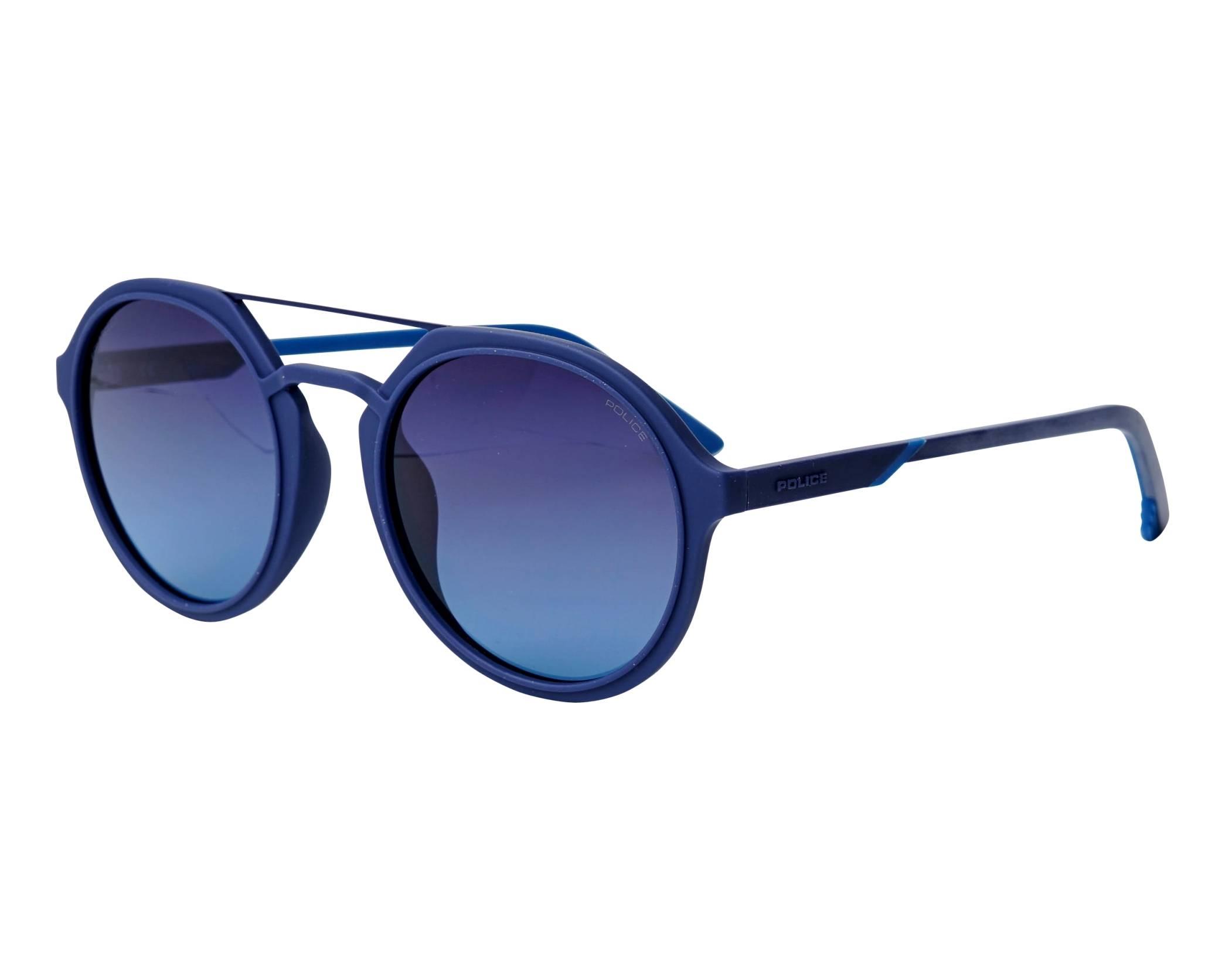 504e2f4f9bc120 Lunettes de soleil Police SPL-768 92EP 53-21 Bleu vue de profil