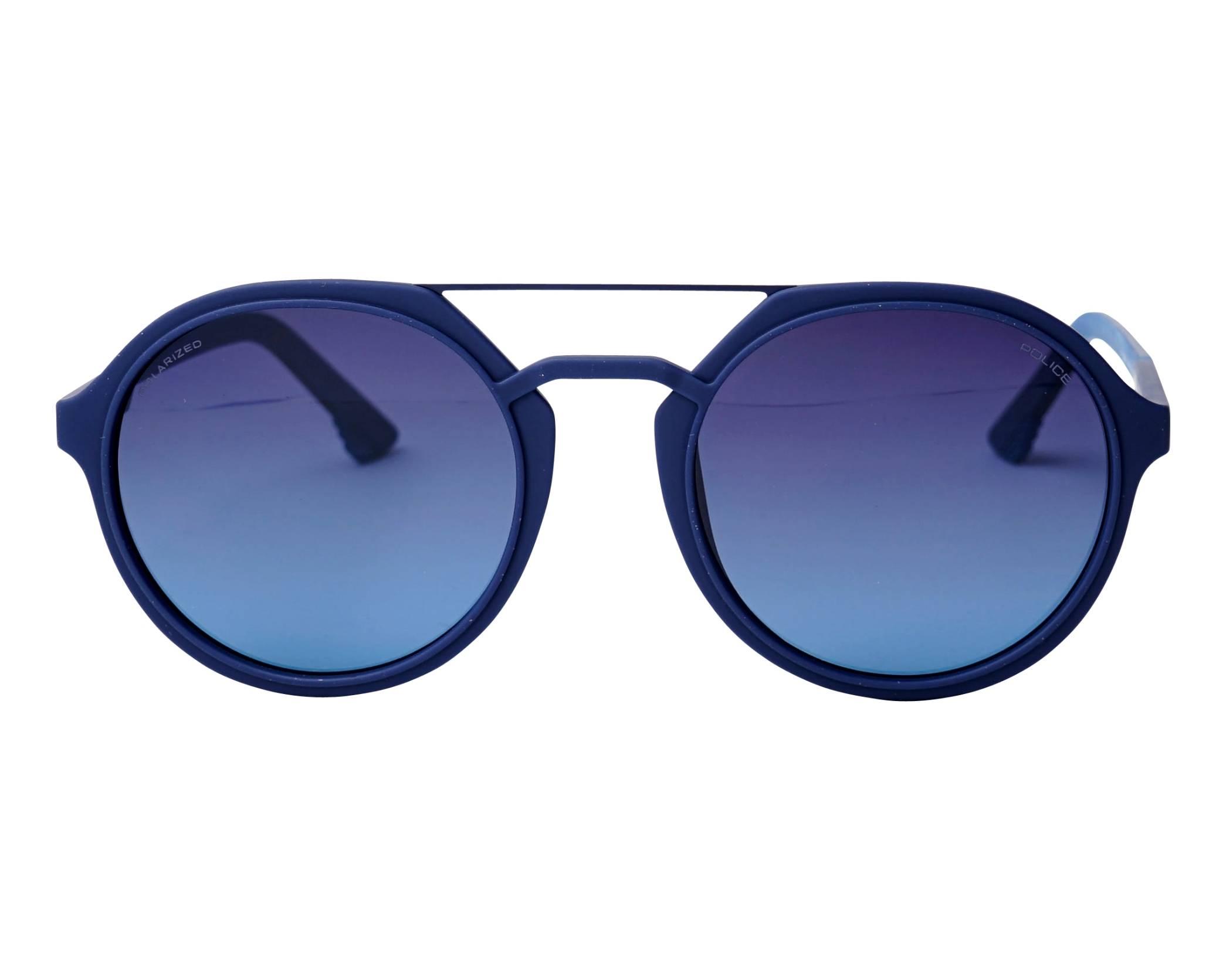 9d1f6e80064eed Lunettes de soleil Police SPL-768 92EP 53-21 Bleu vue de face