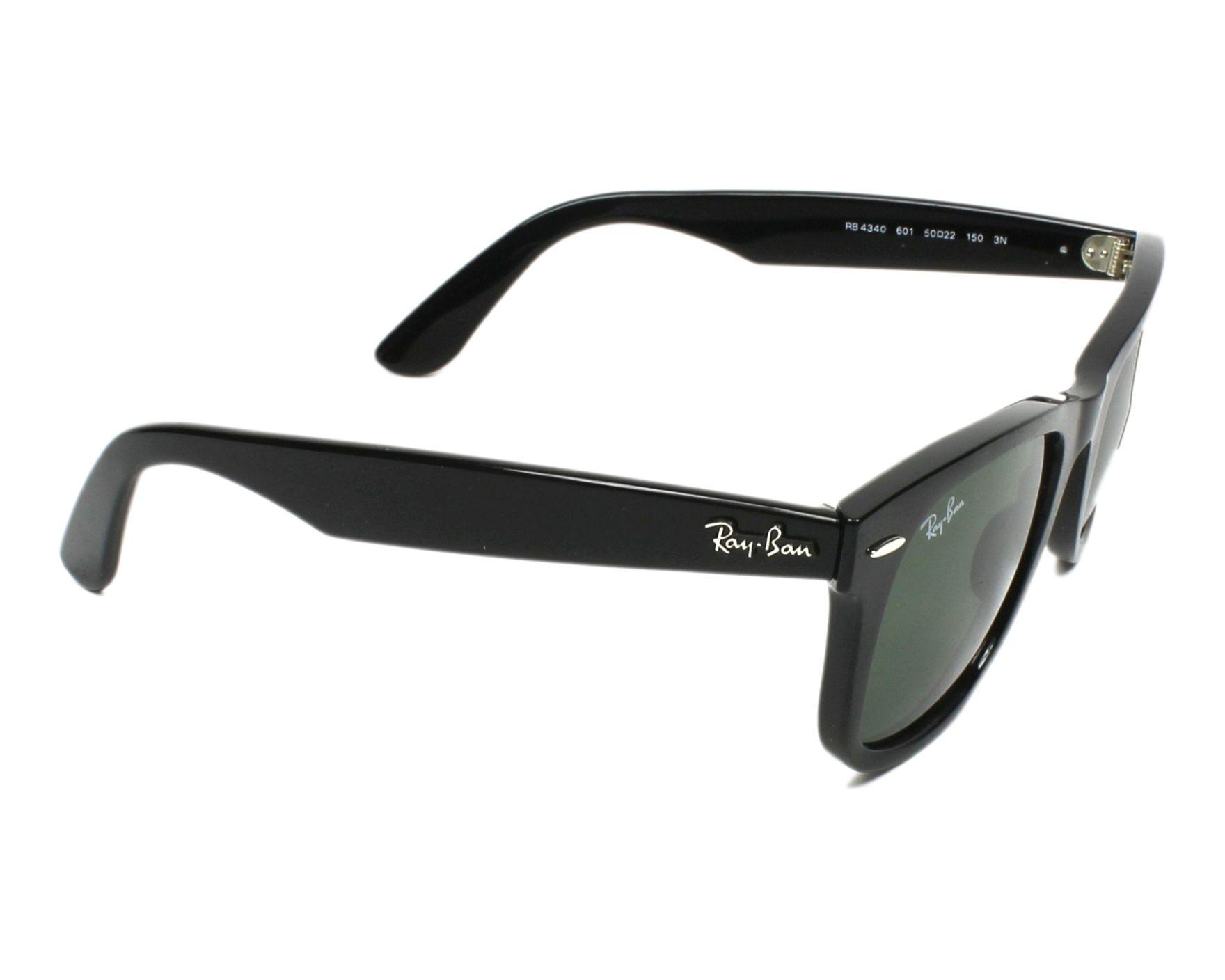 lunettes de soleil ray ban rb 4340 601 noir avec des verres gris vert pour hommes taille 50. Black Bedroom Furniture Sets. Home Design Ideas