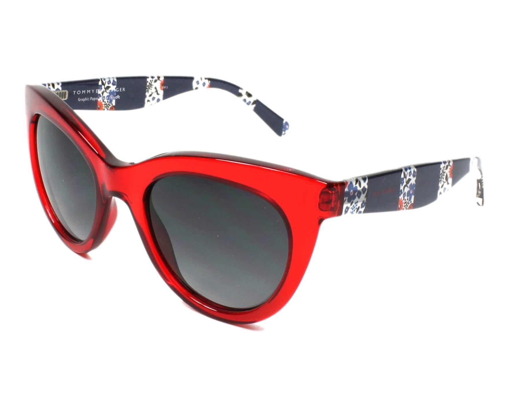 lunettes de soleil tommy hilfiger th 1480 c9a 90 rouge avec des verres gris pour femmes taille. Black Bedroom Furniture Sets. Home Design Ideas