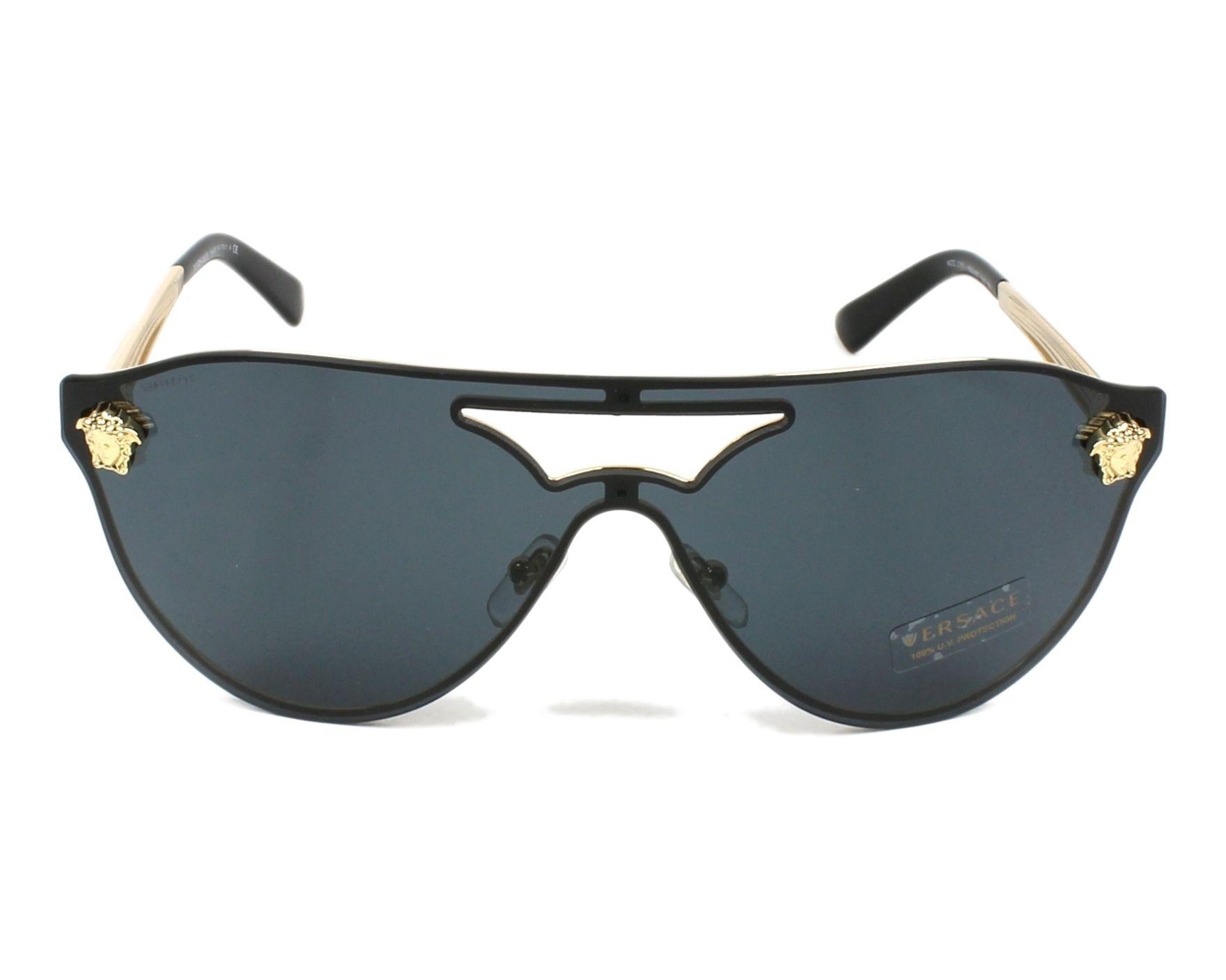 e1e981e89b7 Lunettes de soleil Versace VE-2161 100287 60-18 Or vue de face