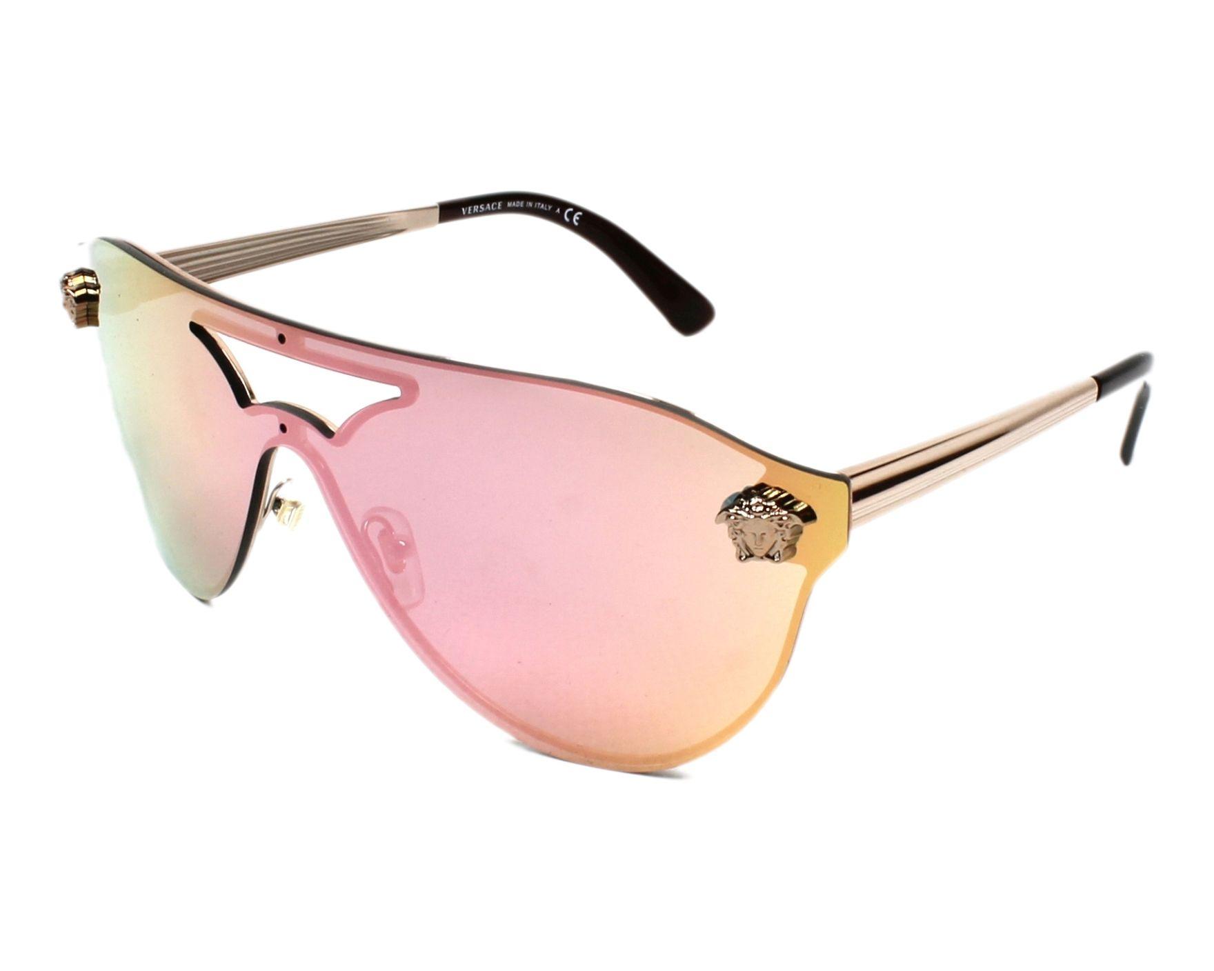 lunettes de soleil versace ve 2161 1052 4z or avec des verres bleu. Black Bedroom Furniture Sets. Home Design Ideas