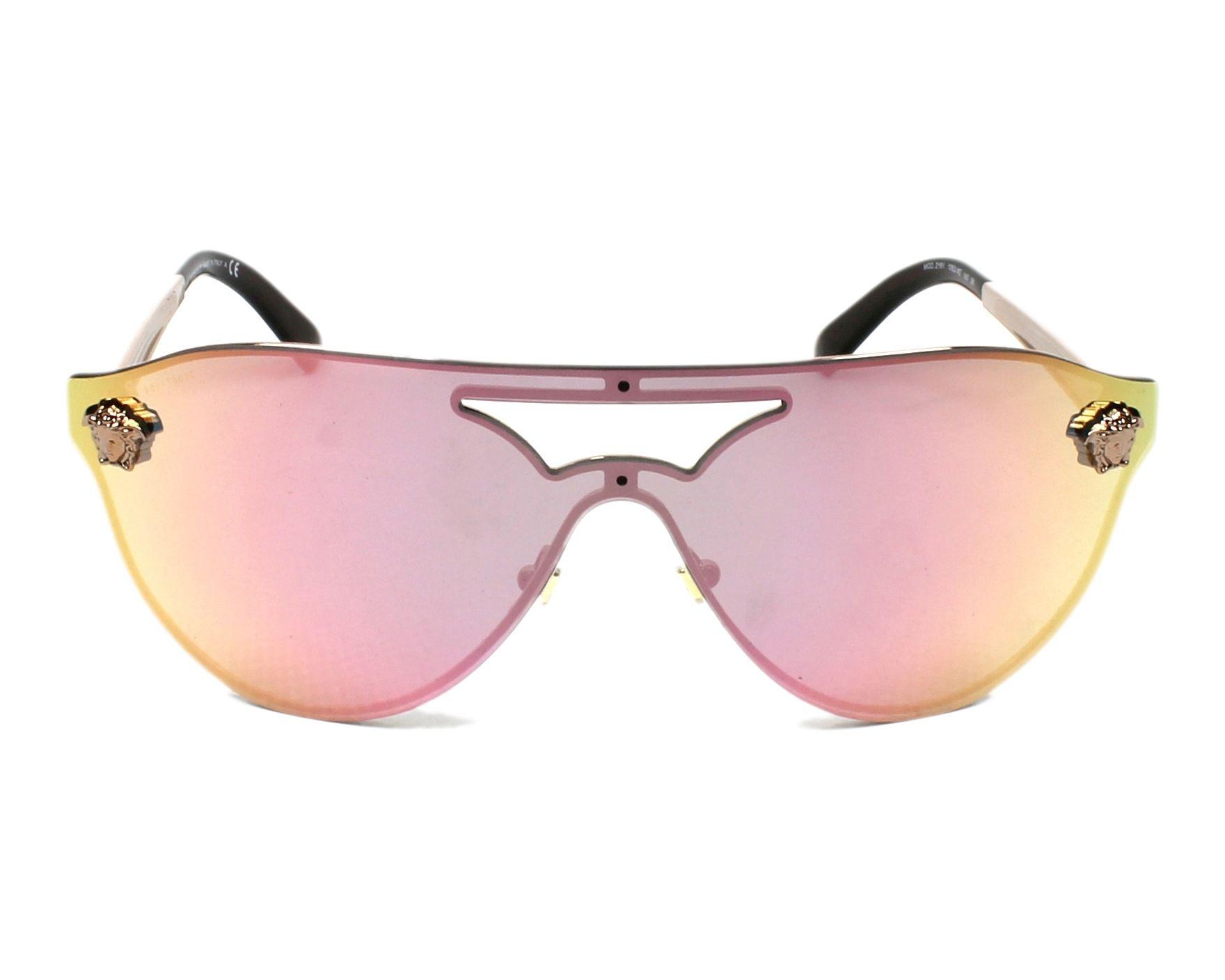 ff6439a0656 Lunettes de soleil Versace VE-2161 1052 4Z - Or vue de face