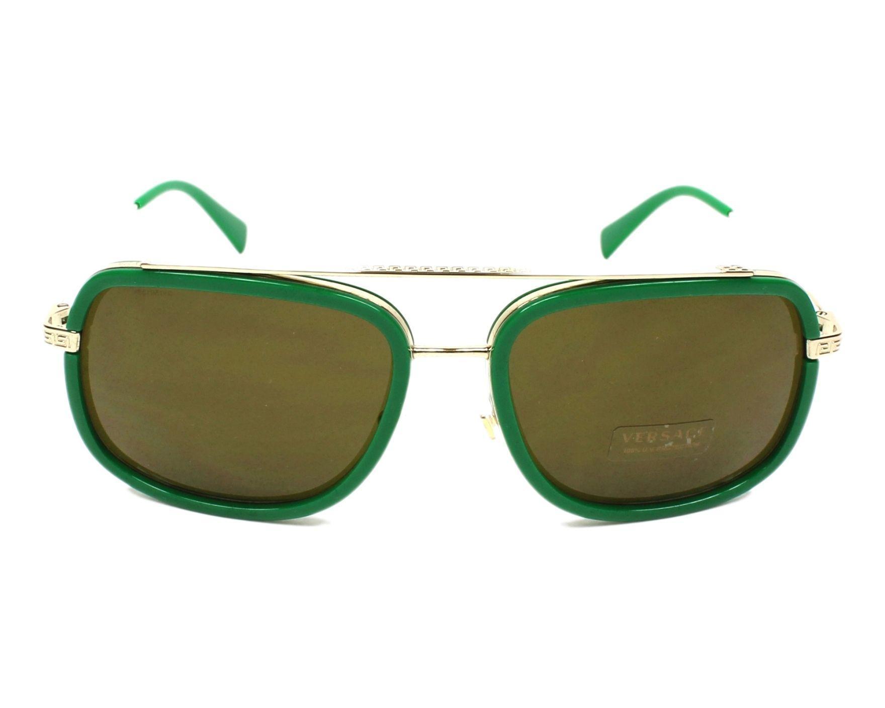 Lunettes de soleil Versace VE-2173 139073 60-18 Vert Or vue de face c1d25e2abb4d