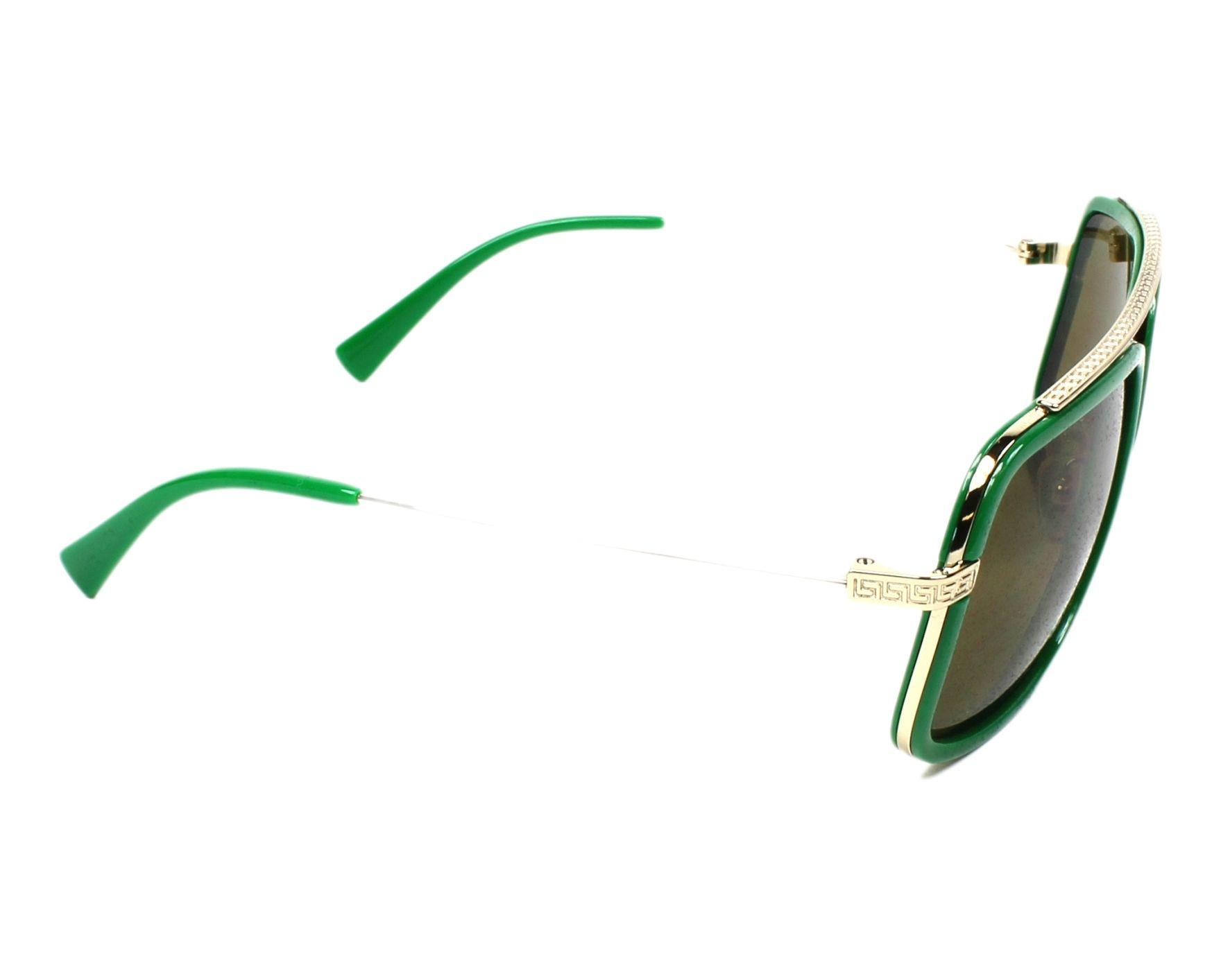 Lunettes de soleil Versace VE-2173 139073 60-18 Vert Or vue de côté fb7e066f689a