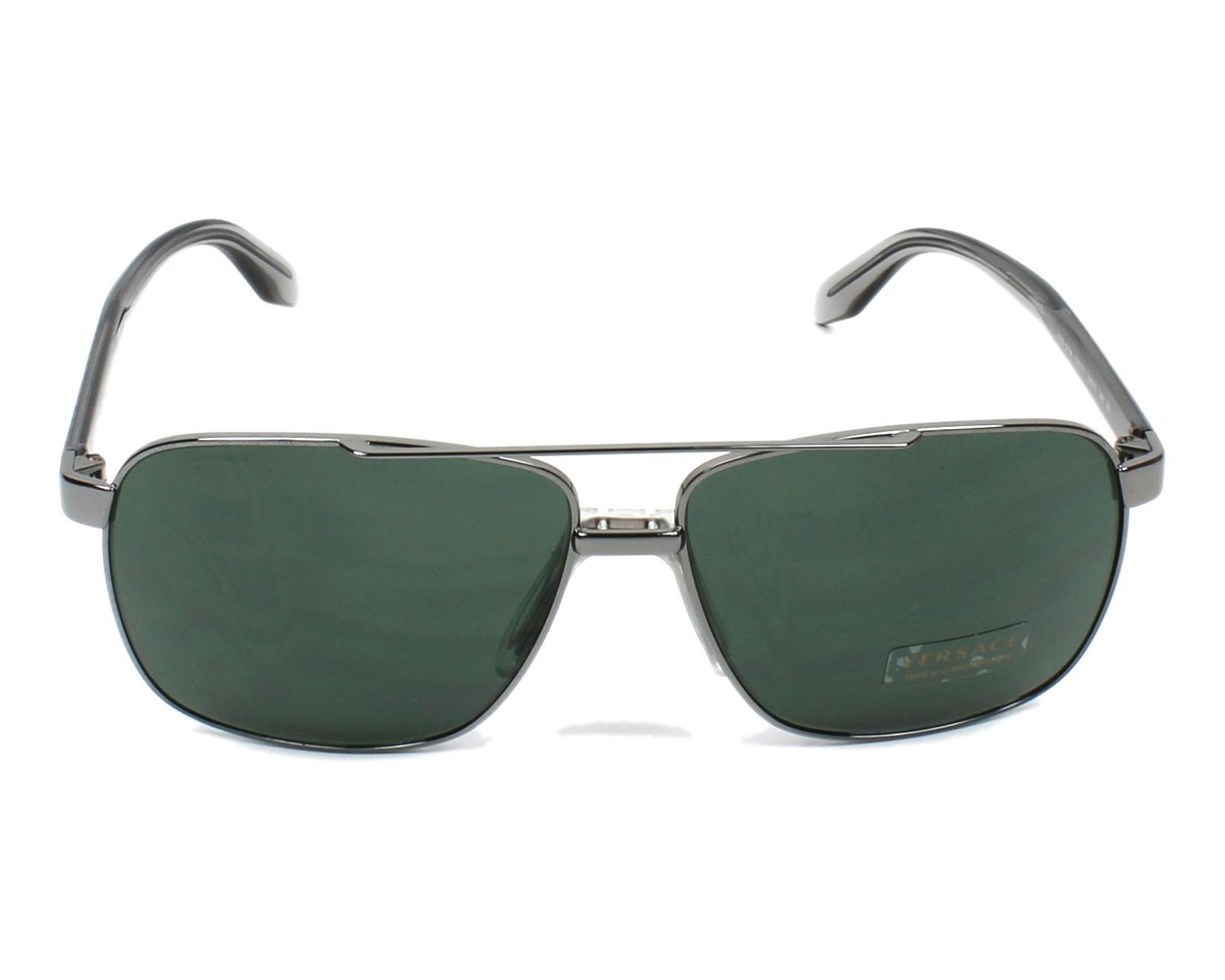 lunettes de soleil versace ve2174 100171 gunmetal avec des verres gris vert pour mixte taille. Black Bedroom Furniture Sets. Home Design Ideas