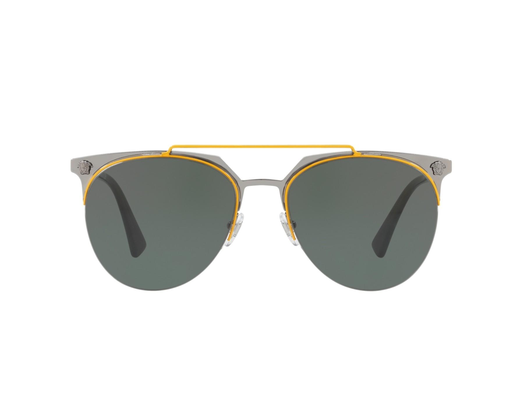 lunettes de soleil versace ve 2181 100171 gunmetal avec des verres gris vert. Black Bedroom Furniture Sets. Home Design Ideas