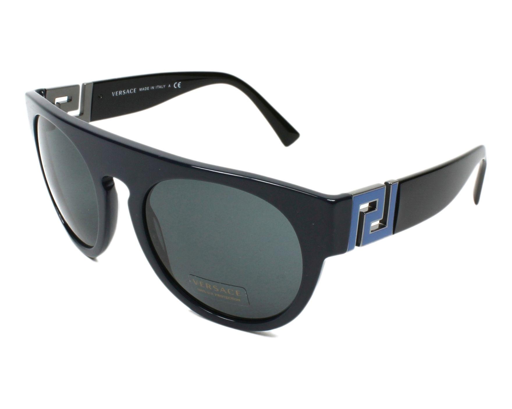 lunettes de soleil versace ve 4333 523087 bleu avec des verres gris. Black Bedroom Furniture Sets. Home Design Ideas