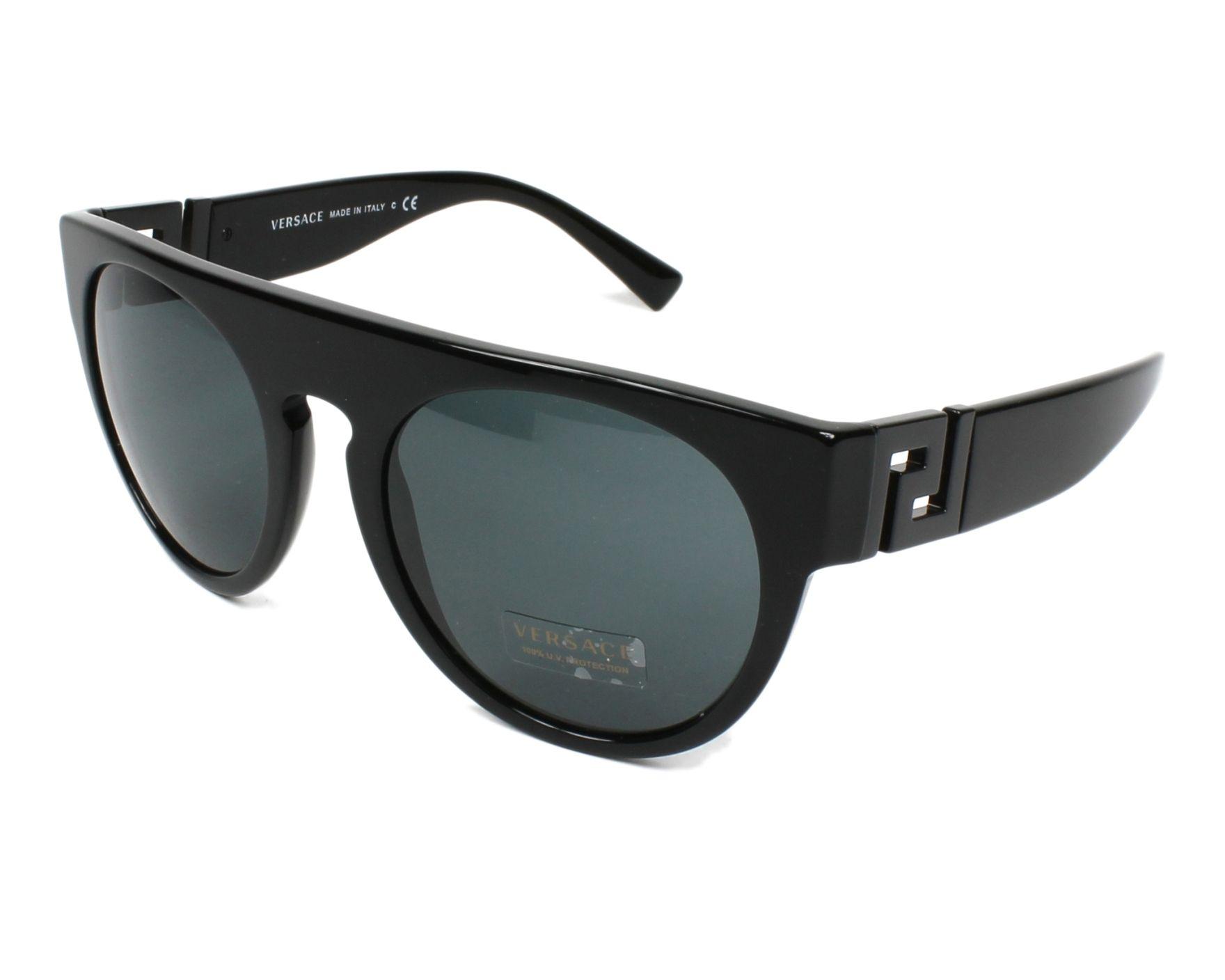 lunettes de soleil versace ve 4333 523287 noir avec des verres gris pour hommes. Black Bedroom Furniture Sets. Home Design Ideas