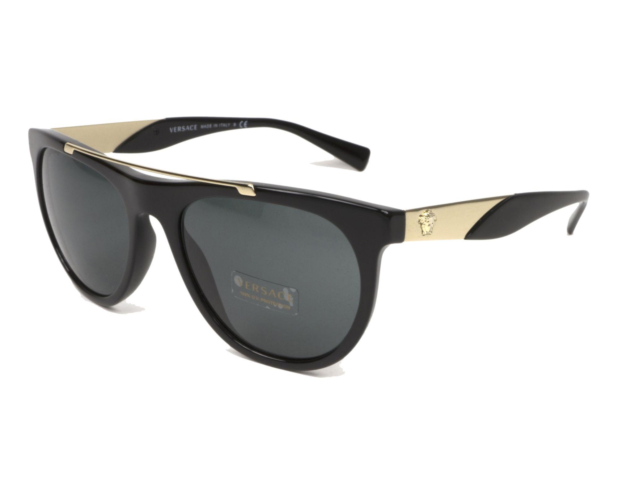 9a9f0bf2864 Lunettes de soleil Versace VE-4347 GB1 87 56-19 Noir Or vue